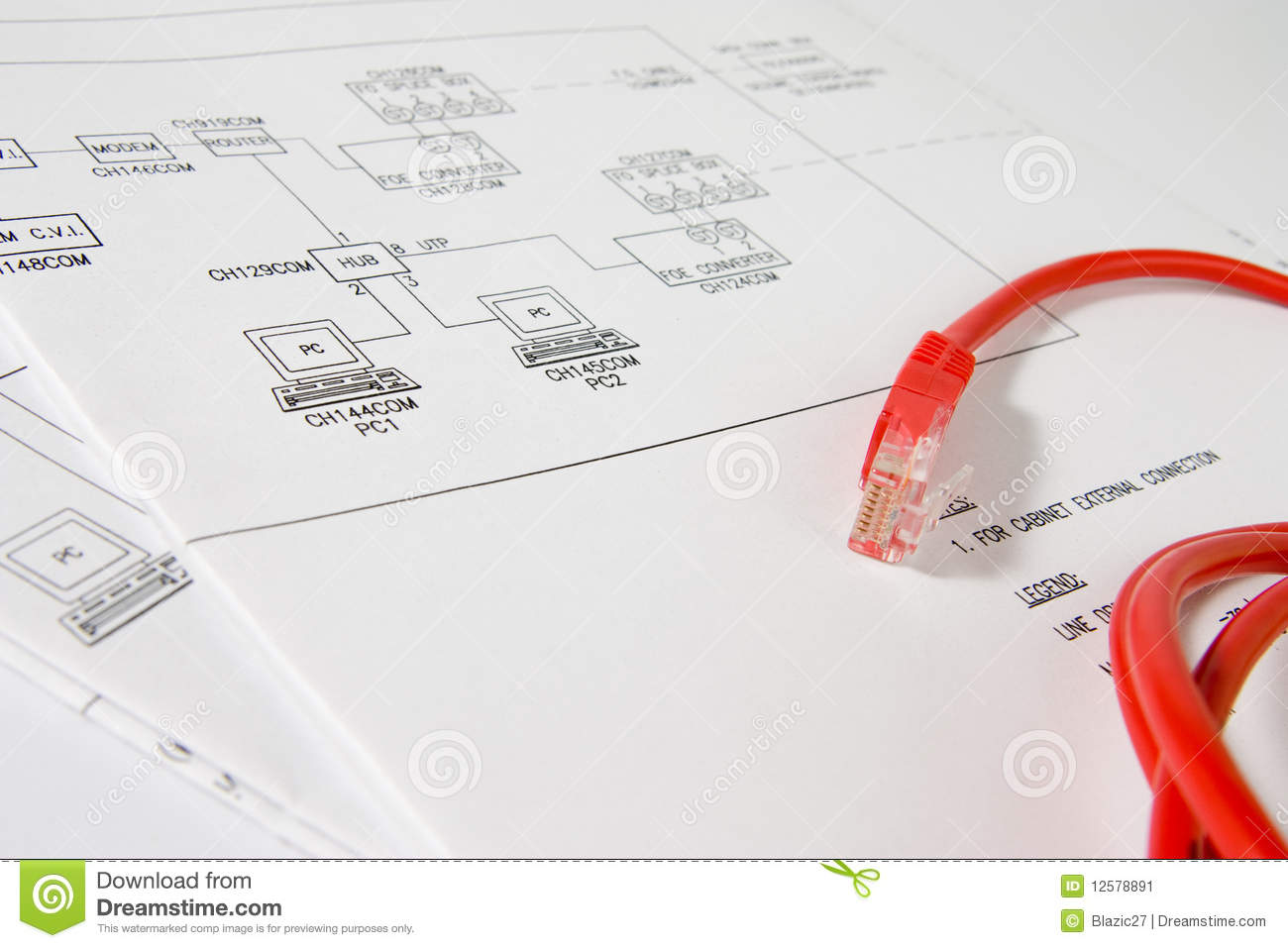 Network Scheme Stock Image Of Intranet Data Connections Rj45 Connector Wiring Diagram On Pc To Blueprint For A Computer With Red Infront