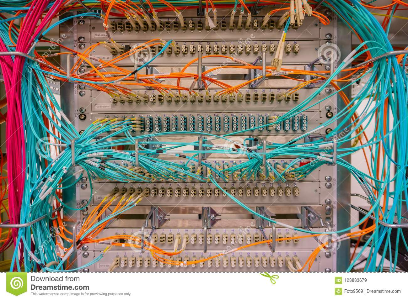Network Switch Connections For Cable Rj45 And Fiber Patch Panel Wiring Download Optic Stock Image