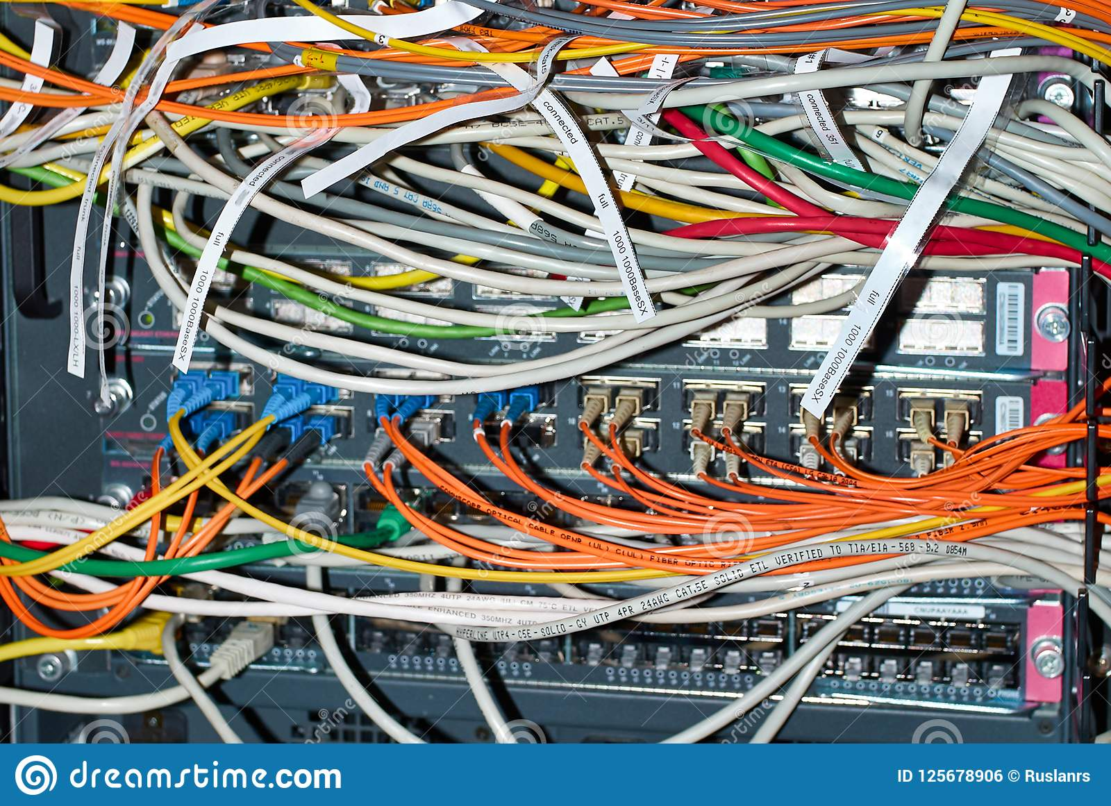 Network Switch Wiring Diagrams Source A Cable With Optical And Ethernet Connected Wires Stock Photo Light