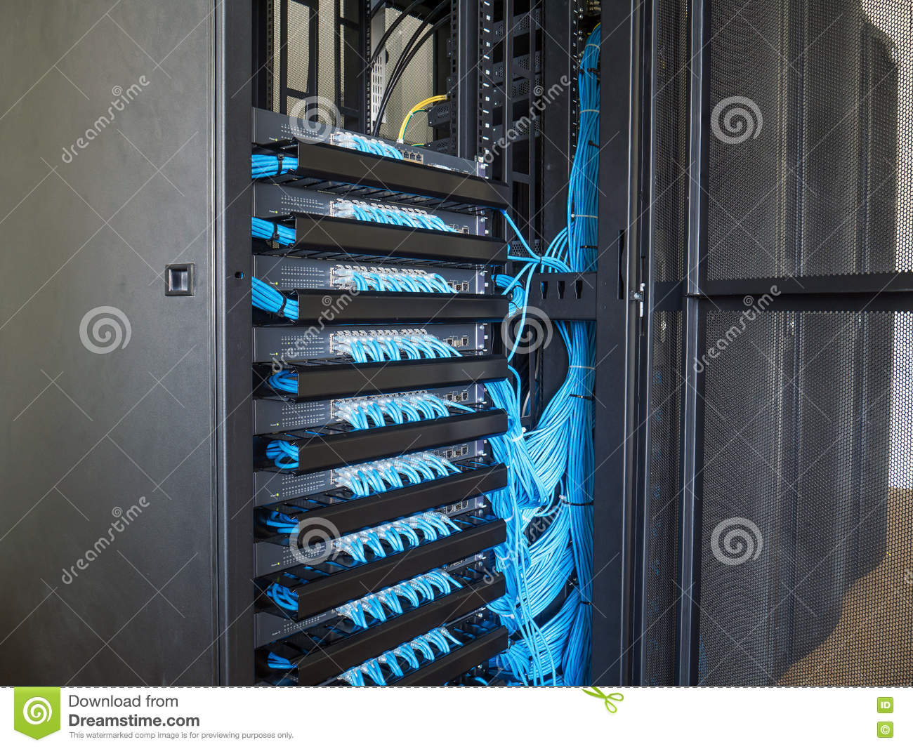 Network Switch In Rack Cabinet Stock Photo Image 75027723