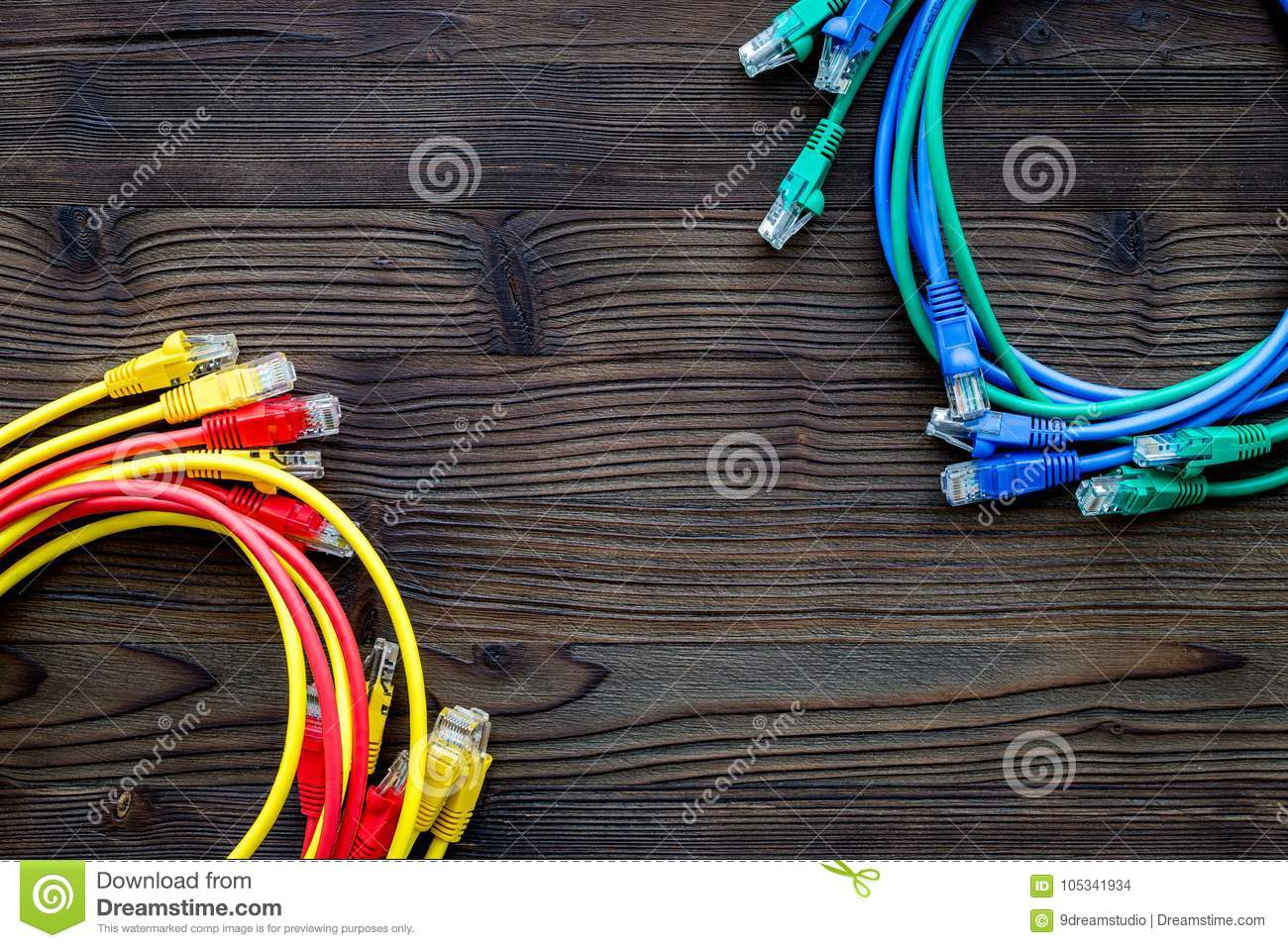 Network Wires Assorted Colors With Tips On Dark Wooden Background ...
