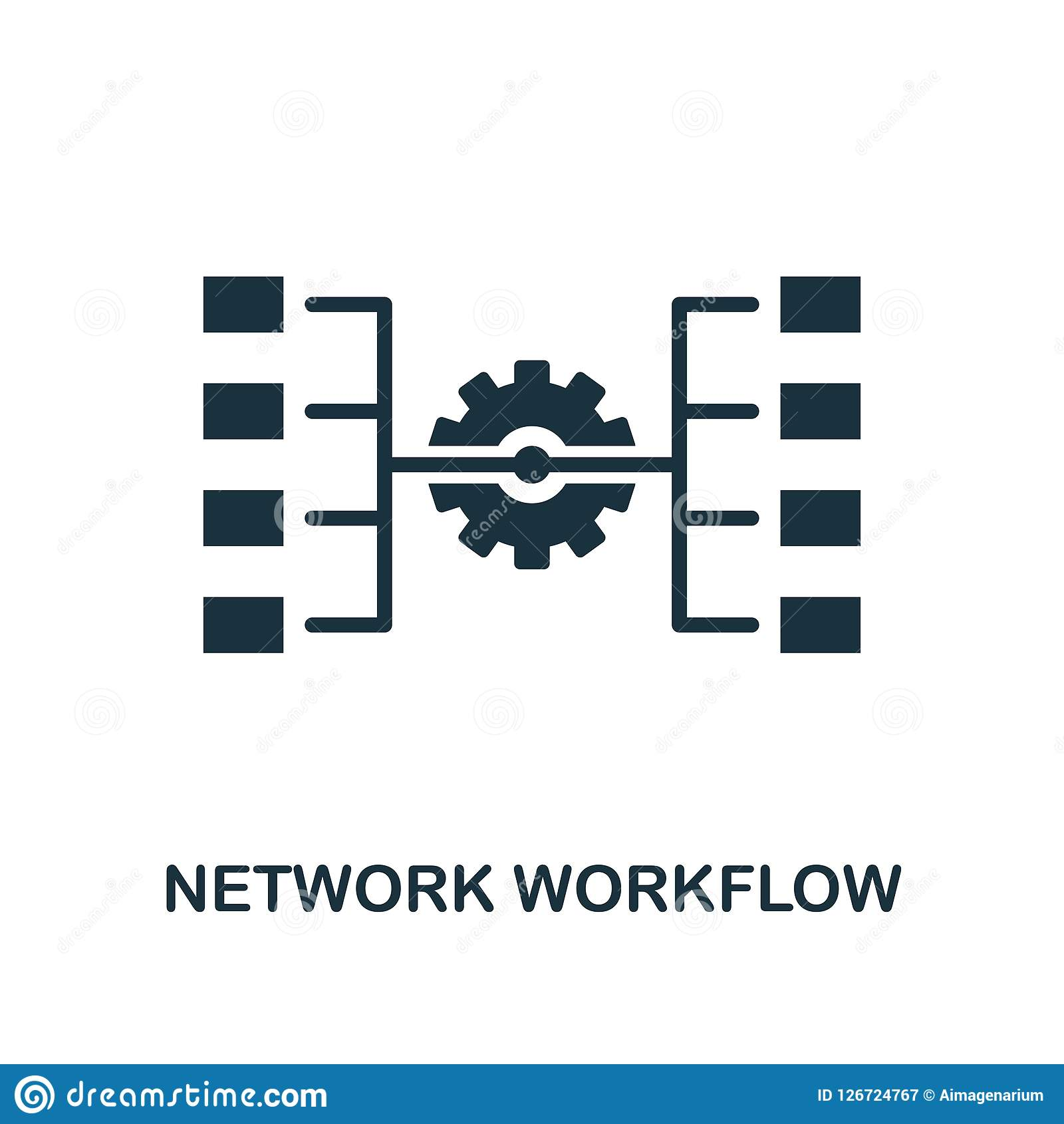 Network Workflow icon. Monochrome style design from big data icon collection. UI. Pixel perfect simple pictogram network workflow