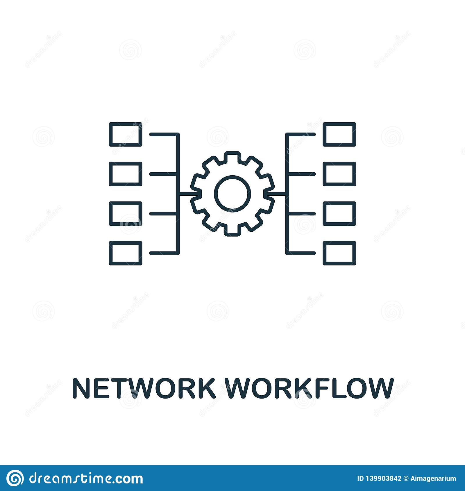Network Workflow outline icon. Thin line style from big data icons collection. Pixel perfect simple element network
