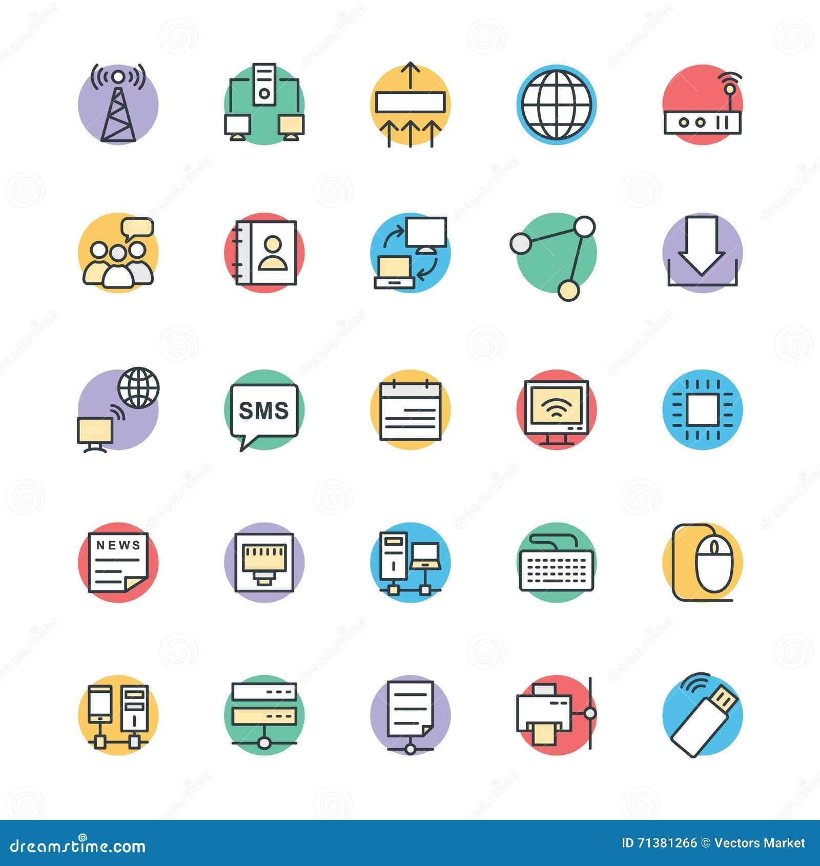 Networking Chłodno Wektorowe ikony 1