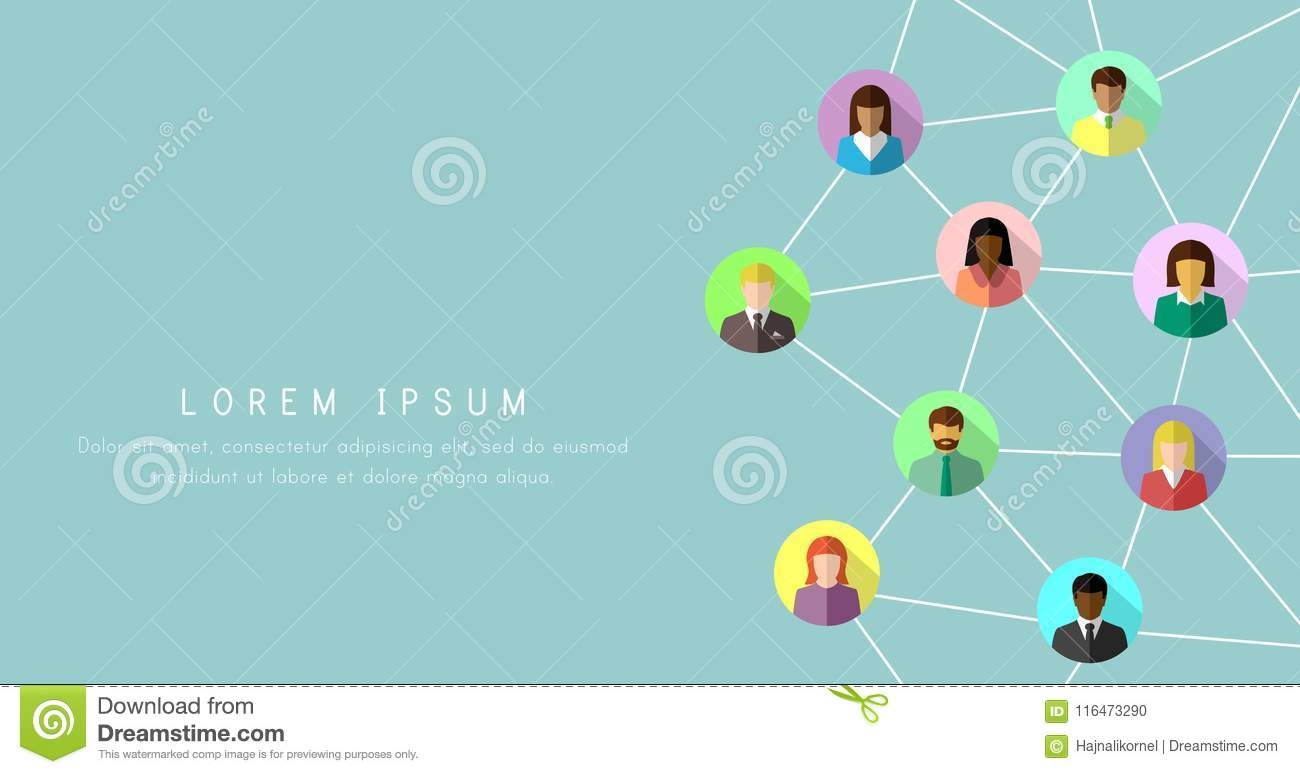 Networking Concept With Diverse People In Colorful Flat Design Social And Business Network Banner Background