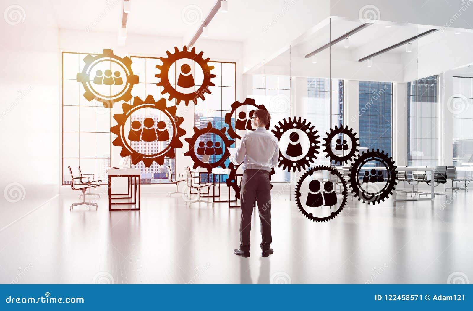 Networking i socjalny komunikacyjny pojęcie jak wydajnego punkt dla nowożytnego biznesu