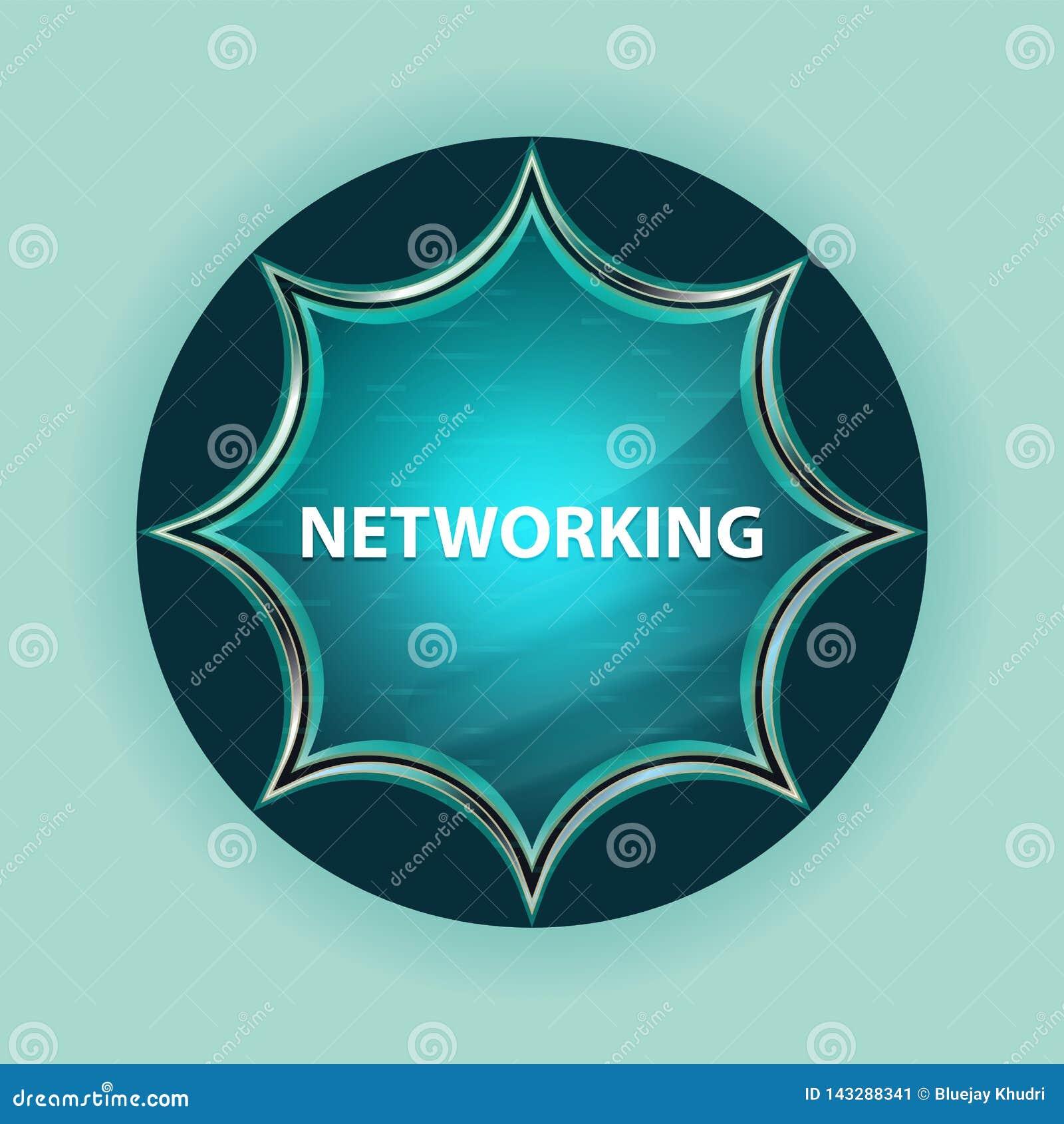 Networking magical glassy sunburst blue button sky blue background