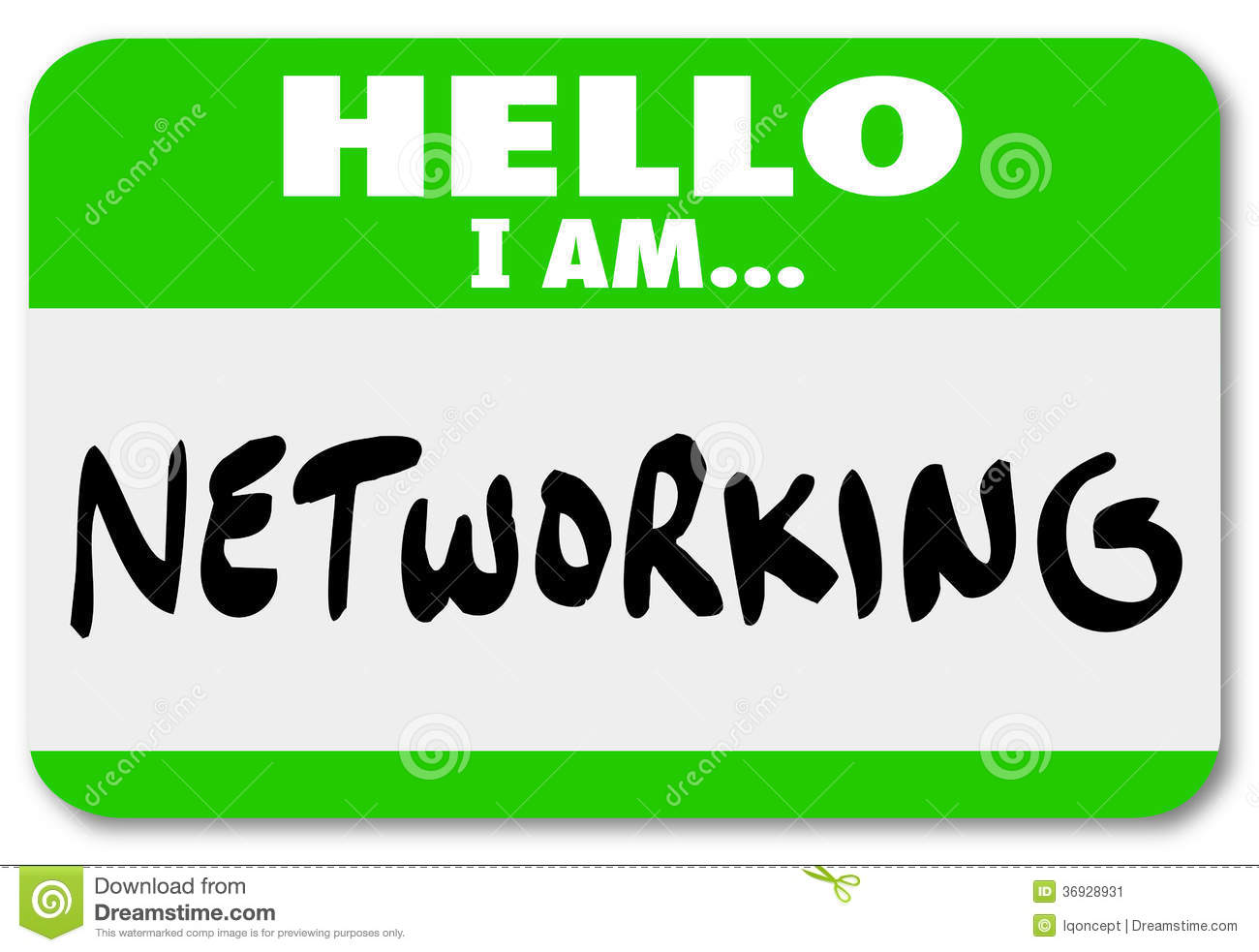 Networking Nametag Sticker Meeting People Making Connections Stock ...