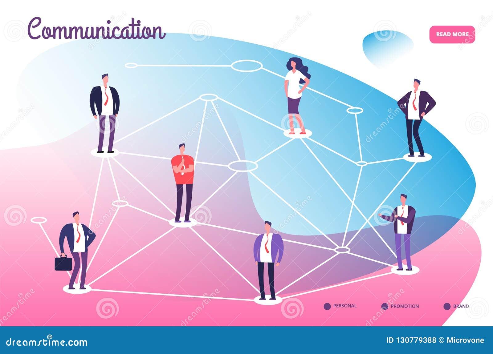 Netz, das Berufsleute anschließt Teamwork-Verbindung der globalen Kommunikation und Vernetzungstechnologievektor