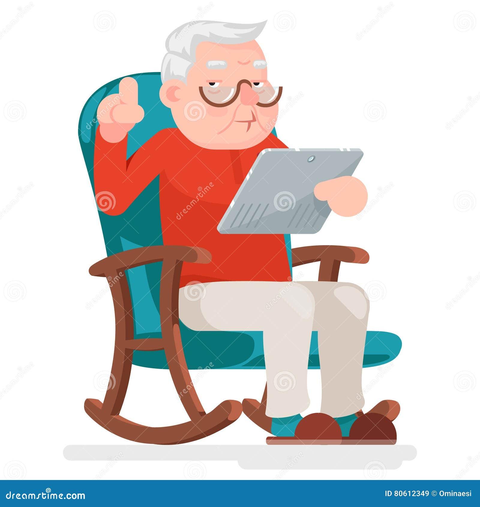 Netz, das on-line-Einkaufsalter Mann-Charakter-Sit Adult Icon Cartoon Design-Vektor-Illustration surft