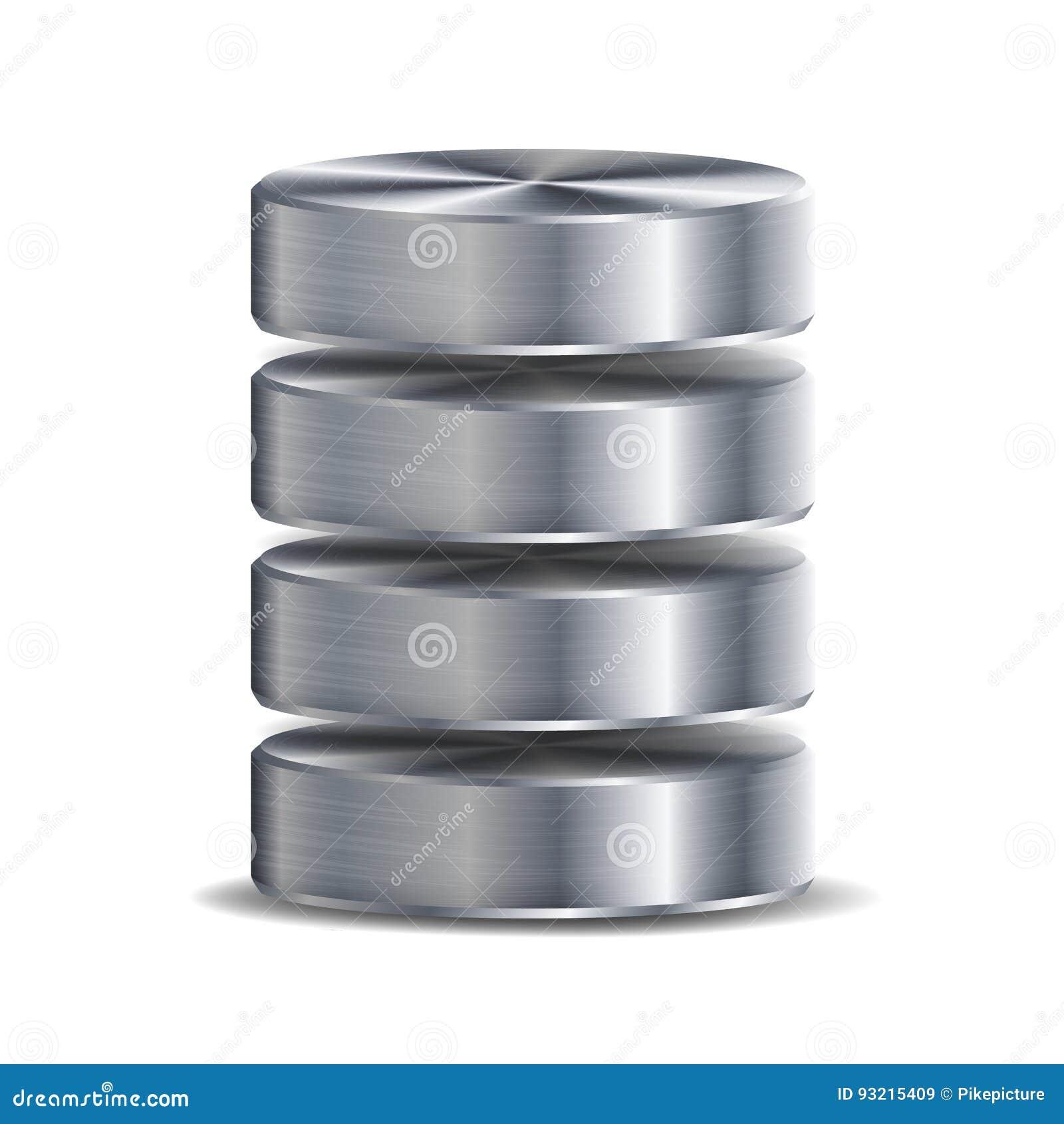 Netz-Datenbank-Disketten-Ikonen-Vektor In hohem Grade ausführliche Illustration der Computer-Festplatte Silber, Chrome-Metall Ers