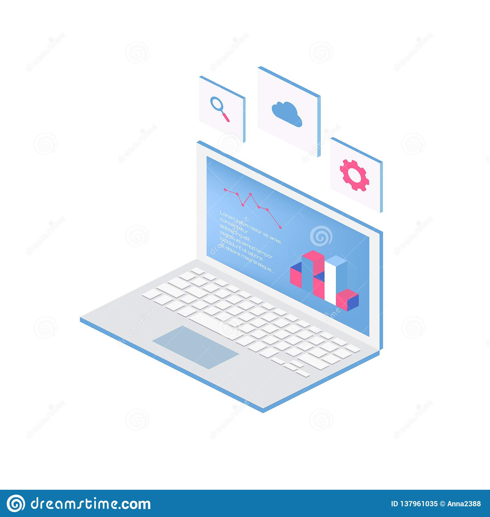 Netz des Analyticsprozesses mit Laptop- und Entwicklungswebsitestatistik Flache Ikonen moderner Vektor der isometrischen Art des