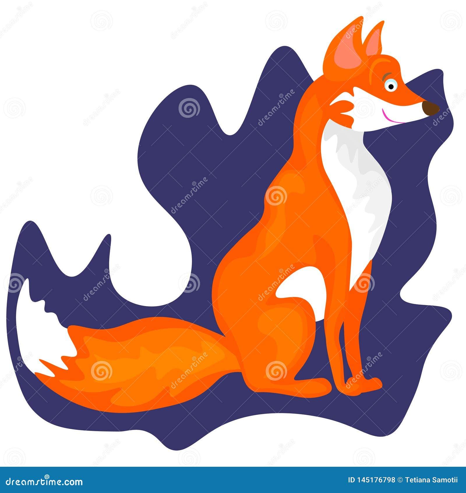 Netz Fox - reizende Illustration und Karte