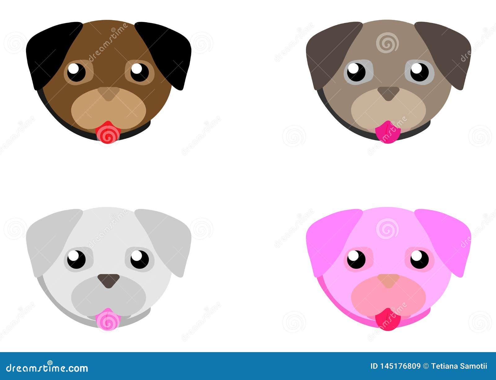 Netz-Karikaturmopsgesichtsatz Entz?ckender kleiner Hund mit verschiedenen Gef?hlen Netter flacher Vektor