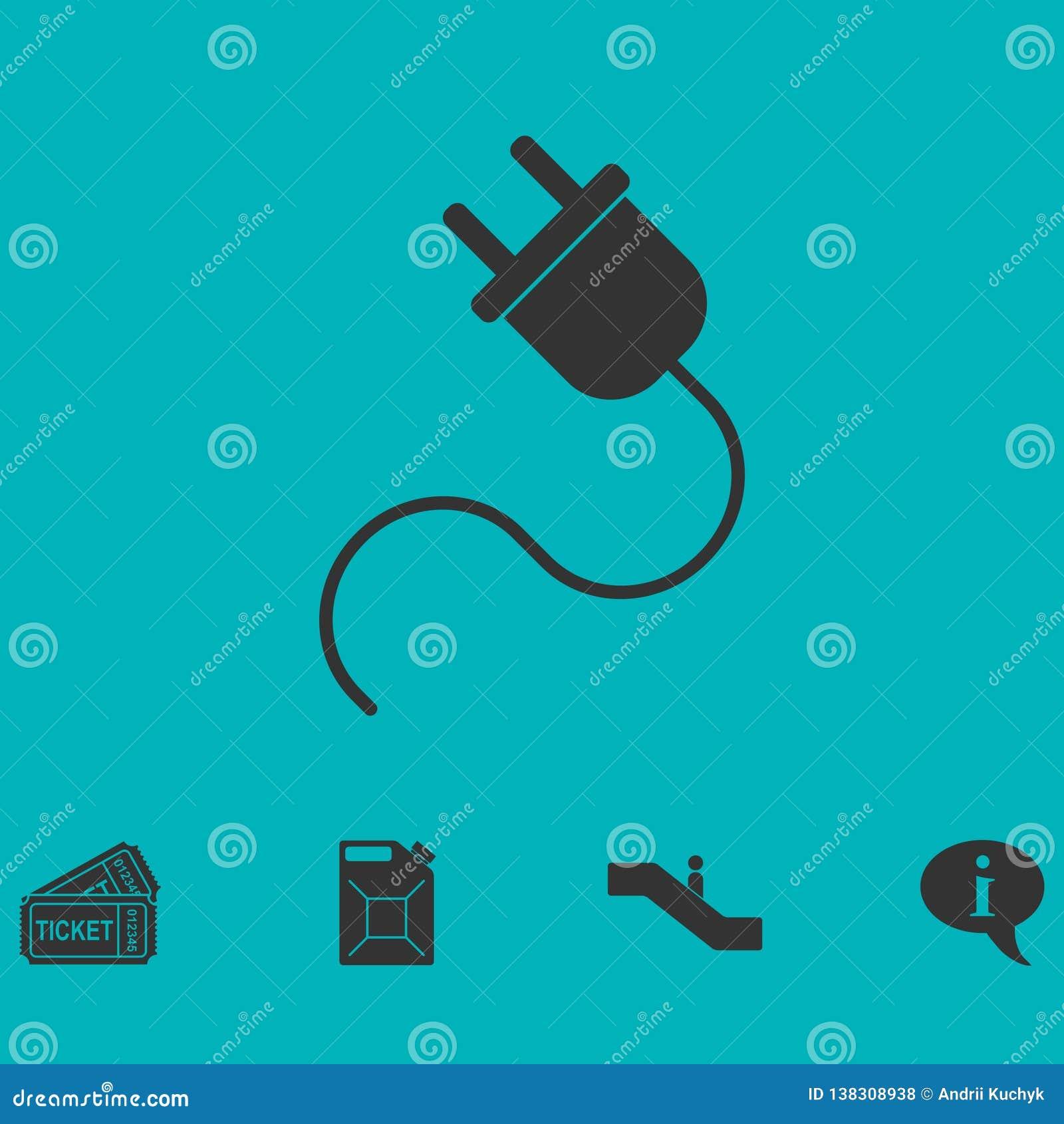 Netzanschlusskabelikone flach