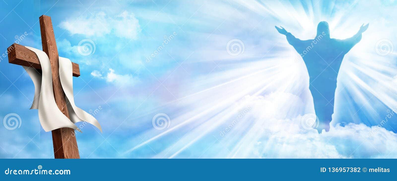 Netzfahne Auferstehung Christliches Kreuz mit gestiegenem Jesus Christ- und Wolkenhimmelhintergrund Leben nach Tod