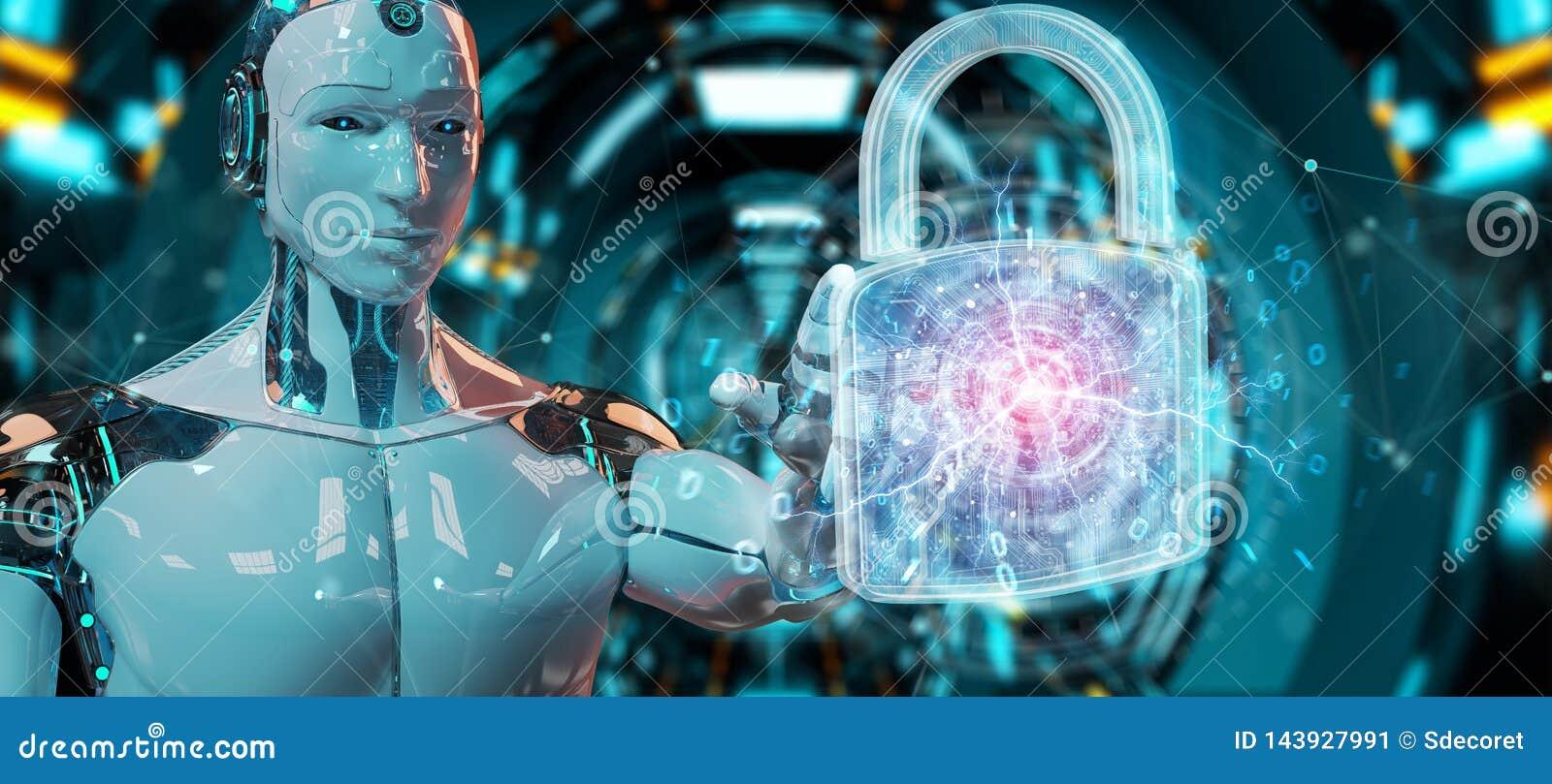 Netzsicherheitsschutzschnittstelle benutzt durch Wiedergabe des Roboters 3D