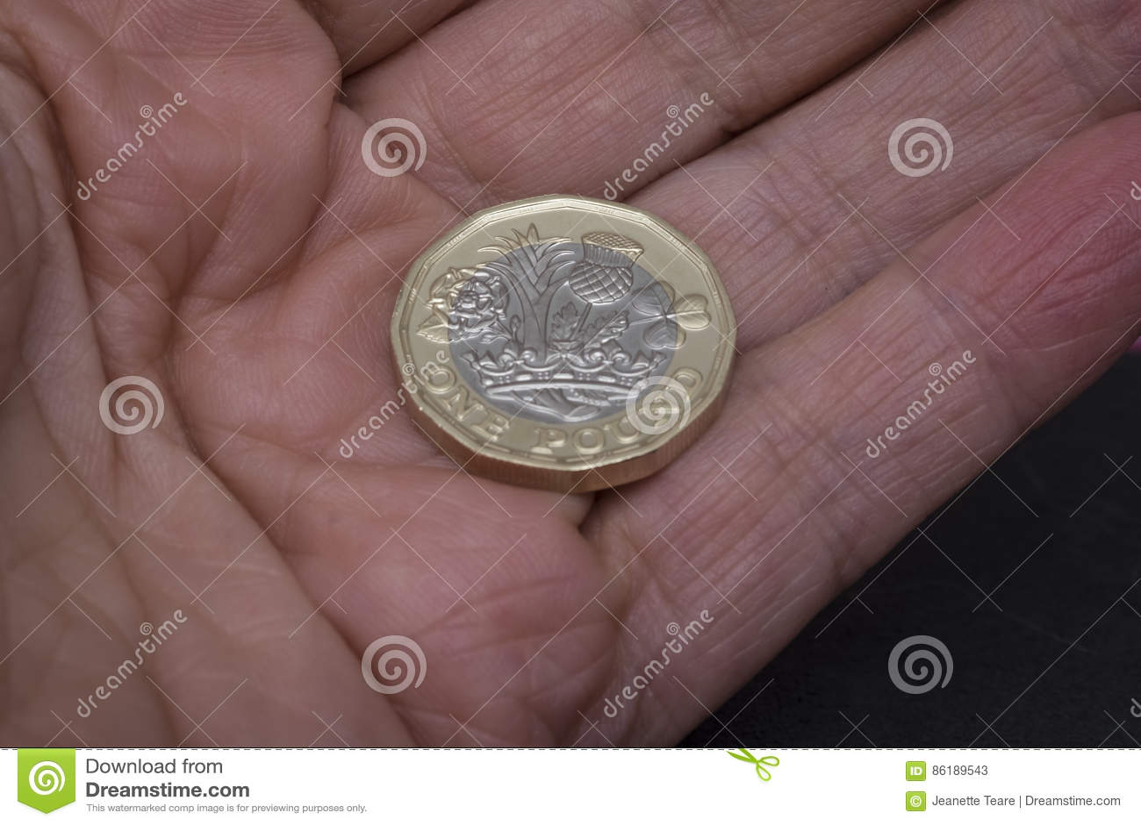 Neue Englische Pfundmünze In Der Hand Redaktionelles Stockfoto