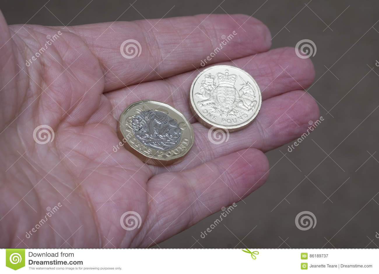 Neue Englische Pfundmünze Mit Altem Design In Der Hand