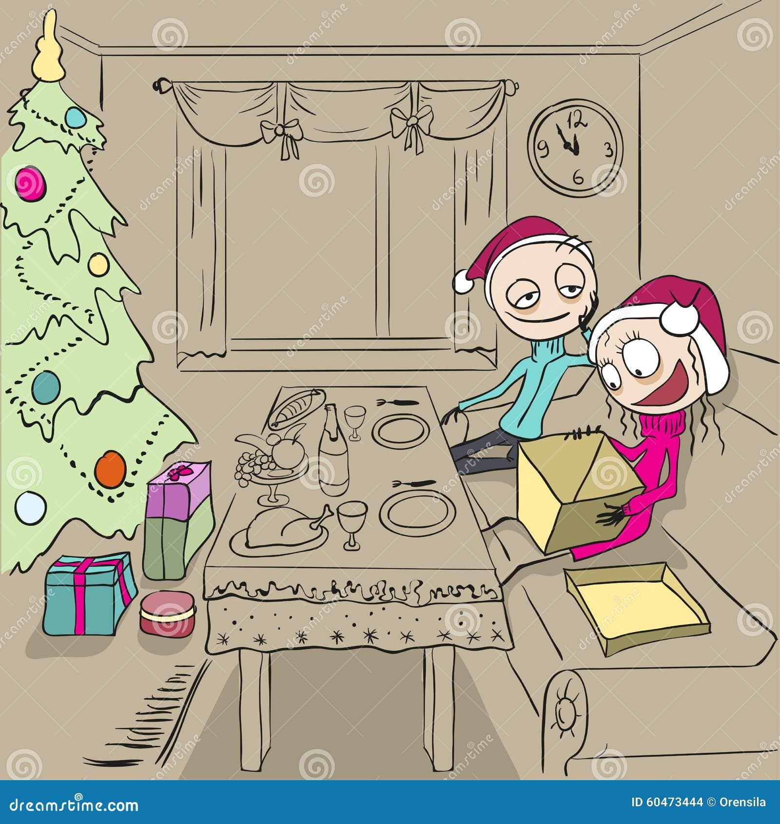 Neue Ideen, Das Haus Zu Verzieren Dieses Weihnachten Mädchen Packt Geschenk  Aus Paare In Der