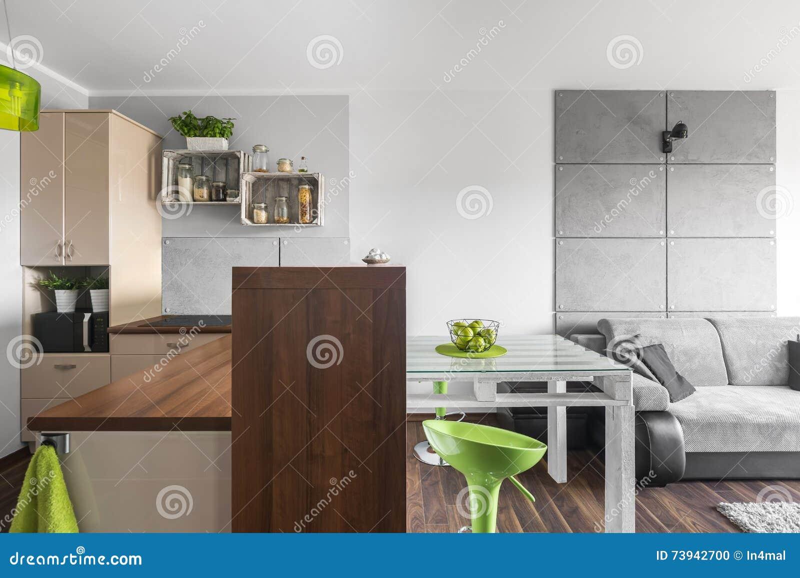 Neue Küche Und Wohnzimmer Kombiniert Stockfoto - Bild von klein ...