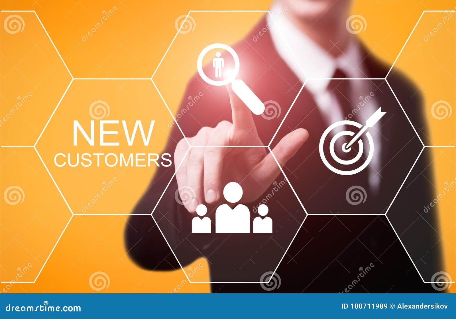 Neue Kunden, die Marketing-Geschäfts-Internet-Technologie-Konzept annoncieren