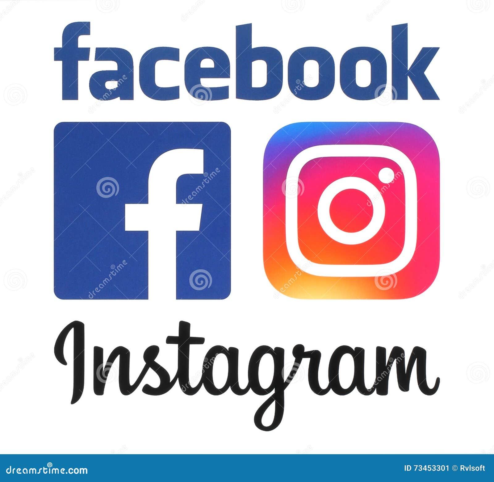 Neue Logos Instagram und Facebooks