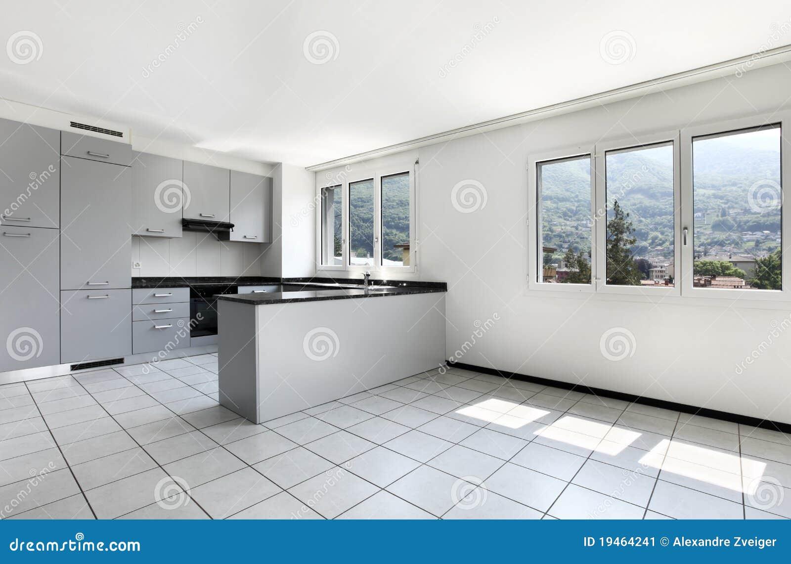 Neue Wohnung, Leere Küche Mit Weißem Mit Ziegeln Gedecktem Fußboden