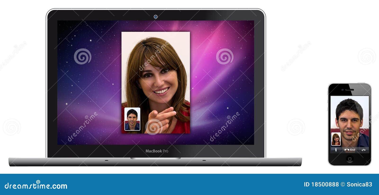 Neuer Apple MacBook Pro und iPhone 4 Whit Gesichts-Zeit