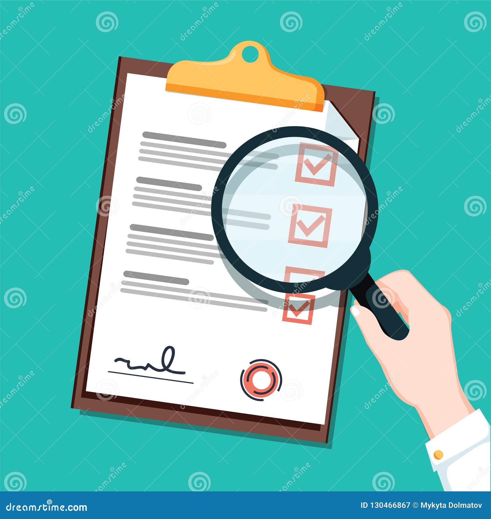 Neuer busienss Vertrag und flache Ikone Vergrößerungsglas Checkliste Dokument mit Grün tickt Prüfzeichen Checkliste und Feder