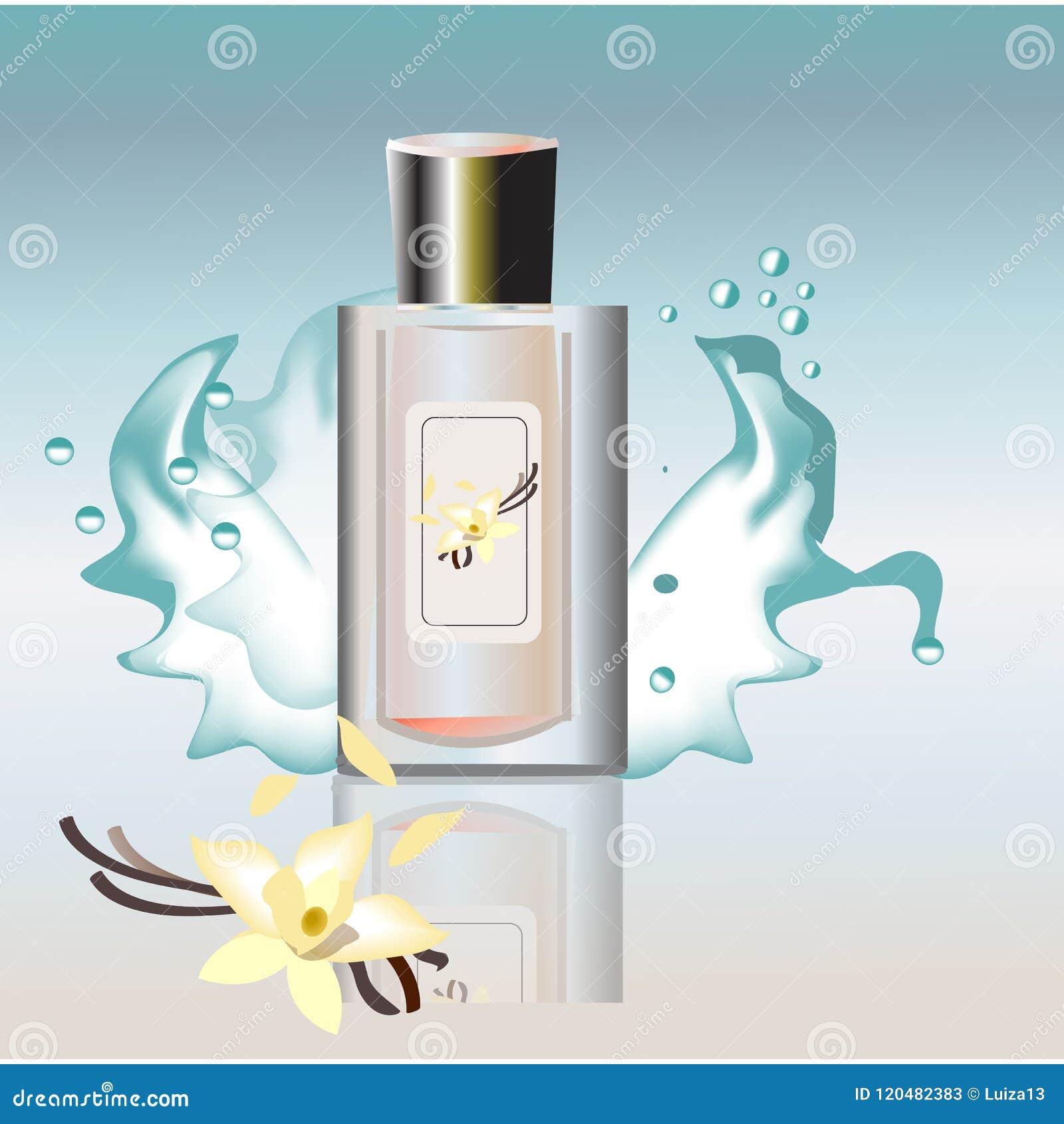 Neuer Duft für Männer parfümieren Plakat mit Phiole von eau de Parfum auf blauer Hintergrund und neue Energieschlagzeile realisti