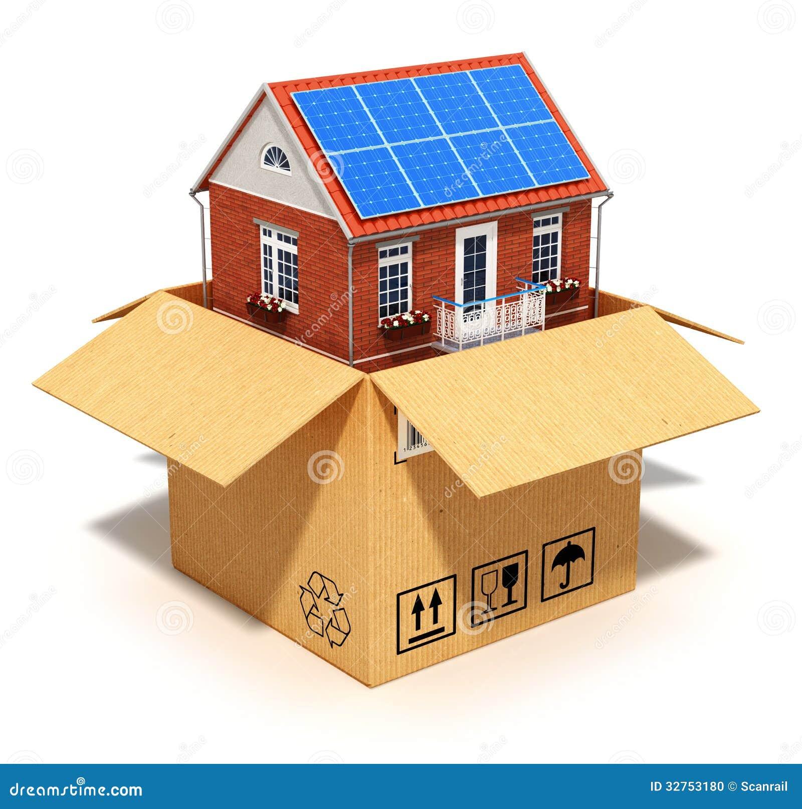 neues haus in der pappschachtel stock abbildung illustration von konzept architektur 32753180. Black Bedroom Furniture Sets. Home Design Ideas