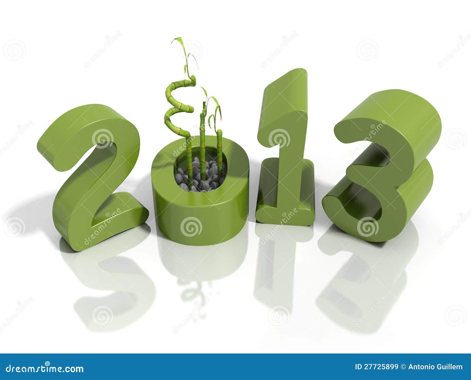 Neues Jahr 2013 in den grünen Zahlen mit Bambus