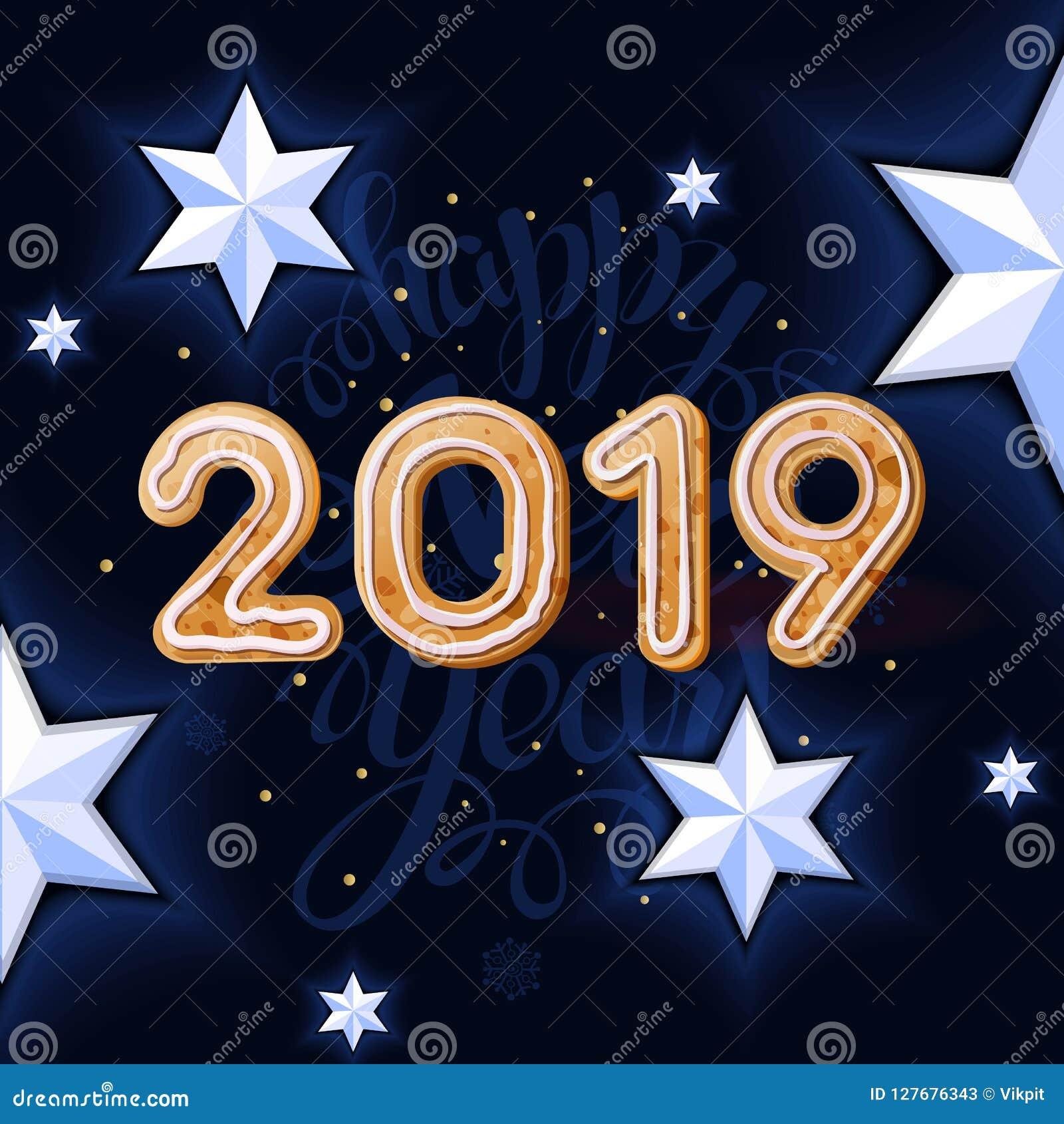Weihnachtskekse 2019.2019 Neues Jahr Auf Dem Schwarzen Hintergrund Mit Weißem Stern Und