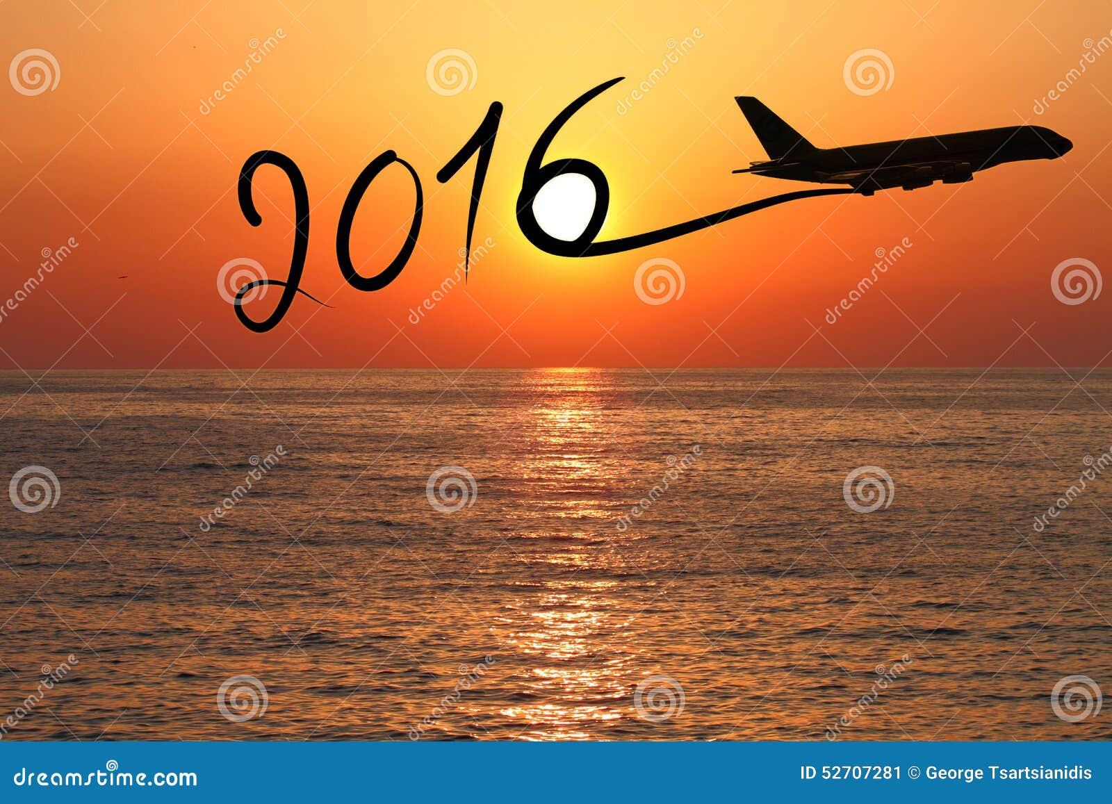 New year 2016 stock photo image 58693644 - Neues Jahr 2016 Das Mit Dem Flugzeug Zeichnet Stockbild