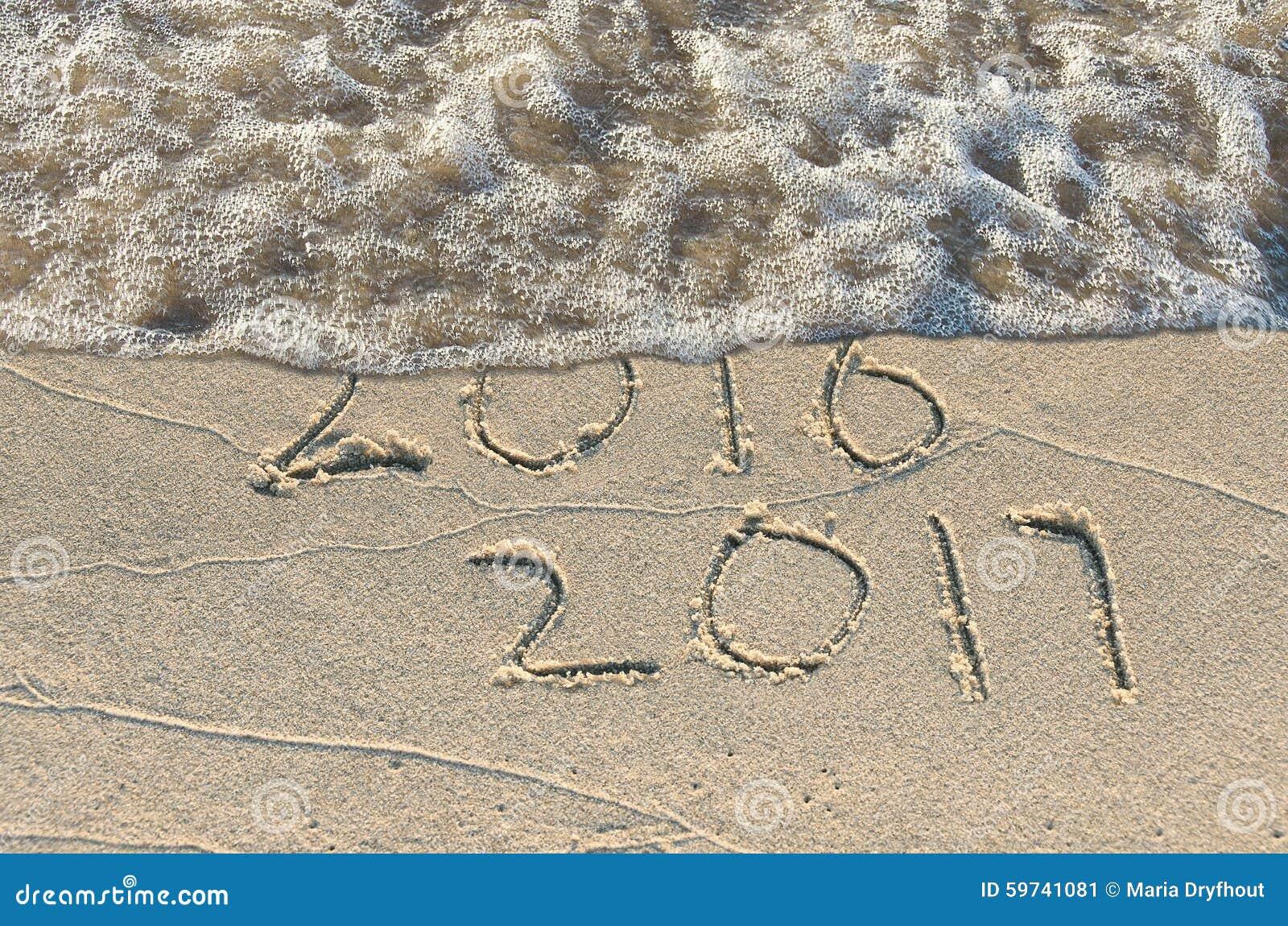 New year 2016 stock photo image 58693644 - Neues Jahr 2017 Im Sand Stockbild