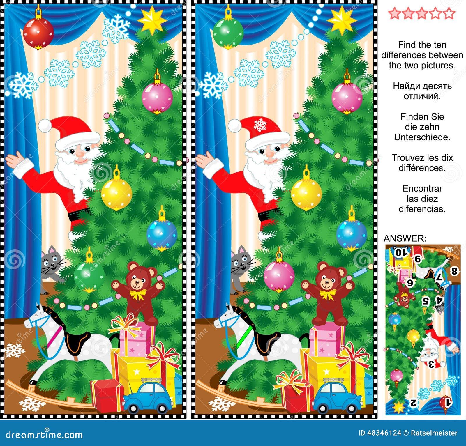 Neues Jahr Oder Weihnachten Finden Das Unterschiedbildpuzzlespiel ...
