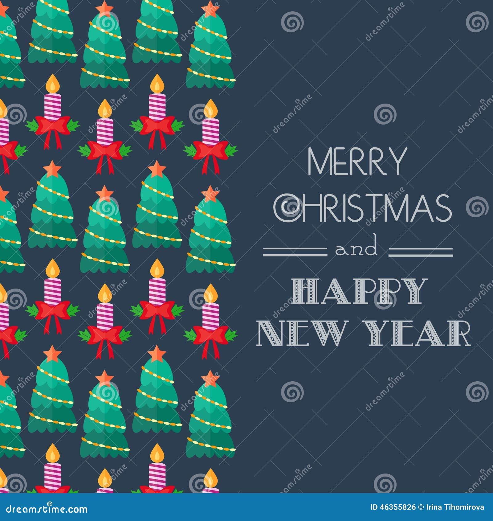 Neues Jahr Und Weihnachtskarte Kalligraphische Typografie ...