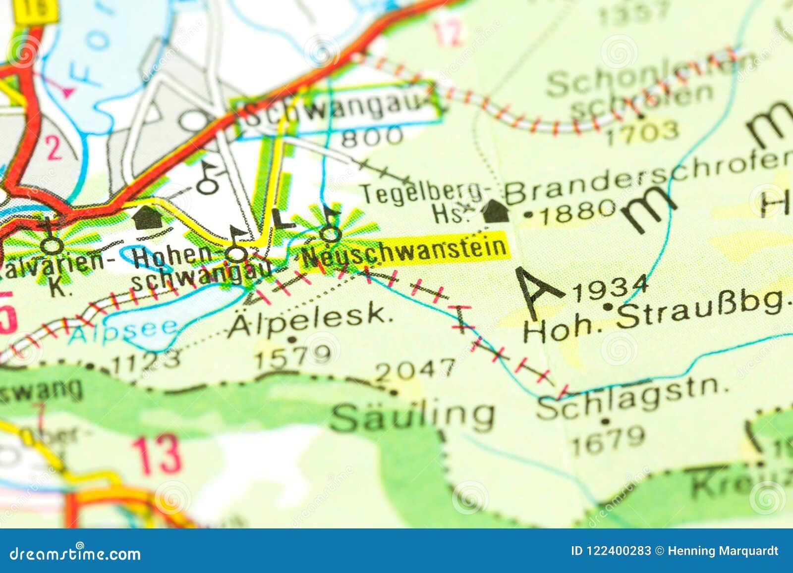 Bayern Karte.Neues Swanstone Schloss Auf Karte Bayern Stockbild Bild Von Plan