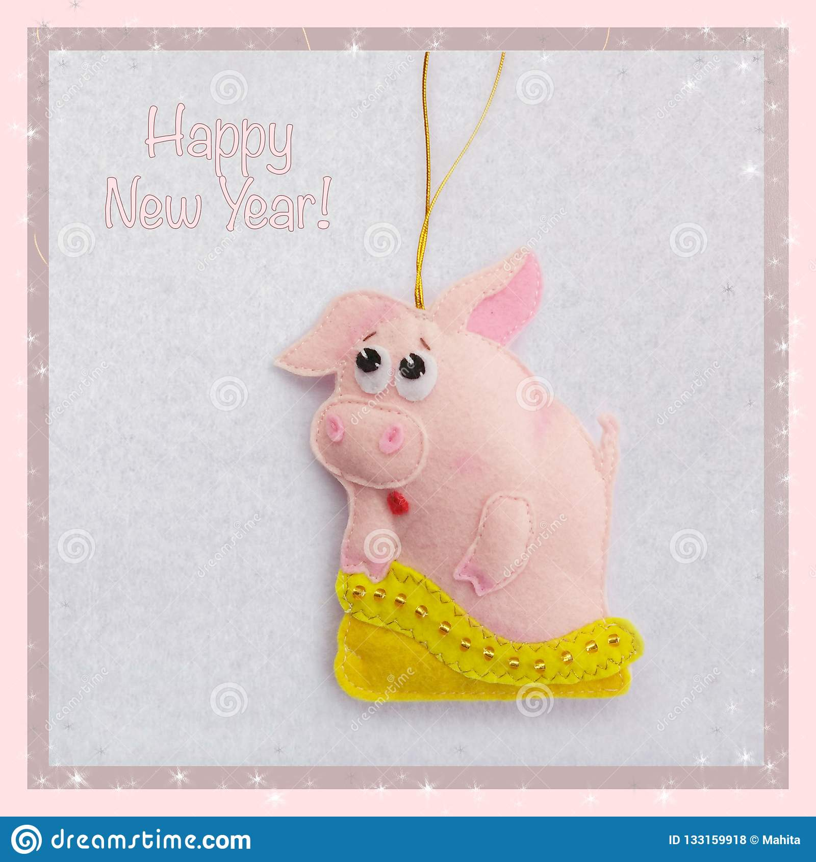 An neuf Jouet mou fait de feutre le porc mignon Porcin sort du sac Décoration d arbre de Noël Symbole d année 2019