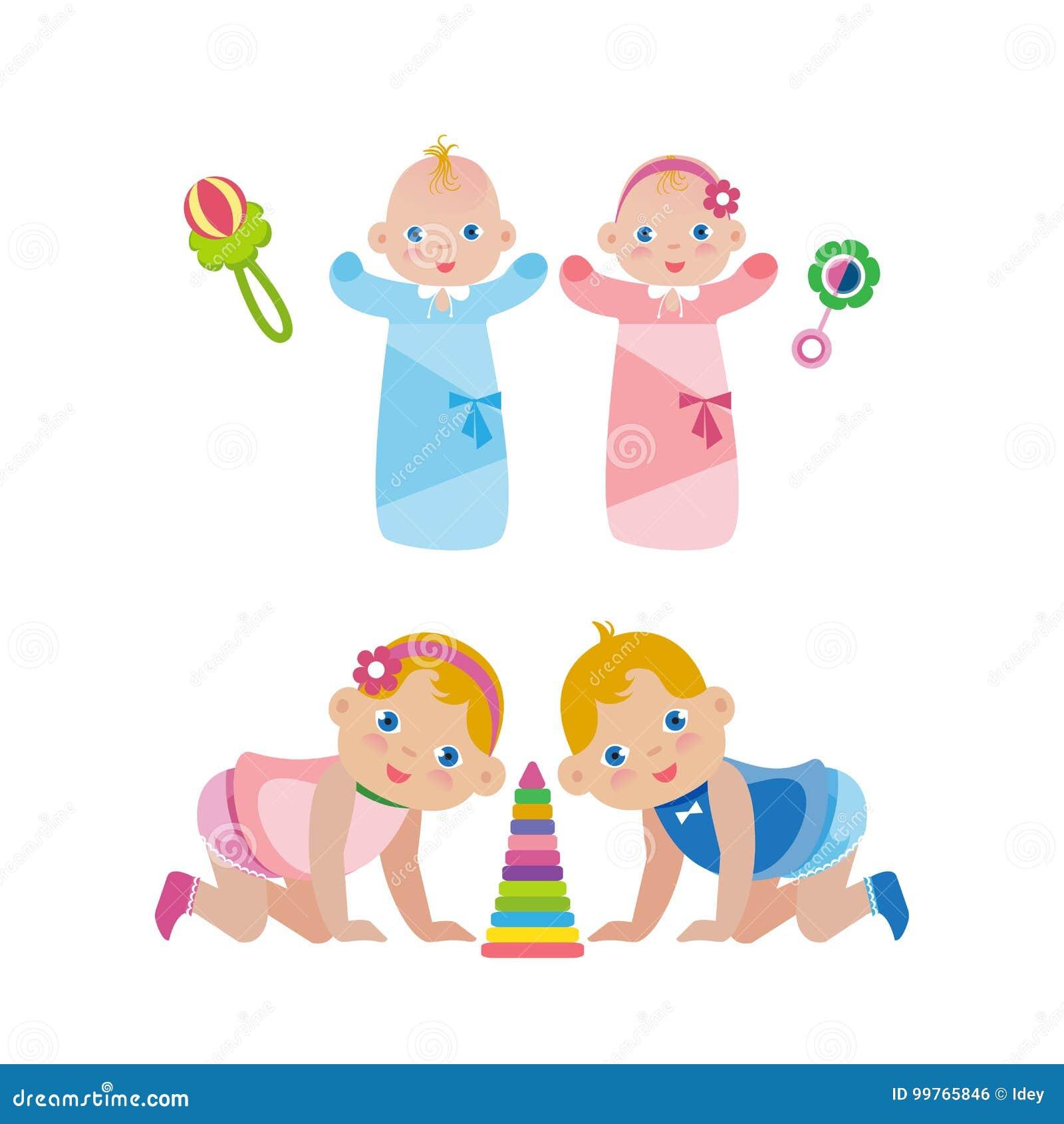 neugeborene babys in den windeln und in kindern die auf ihre knie kriechen vektor abbildung. Black Bedroom Furniture Sets. Home Design Ideas