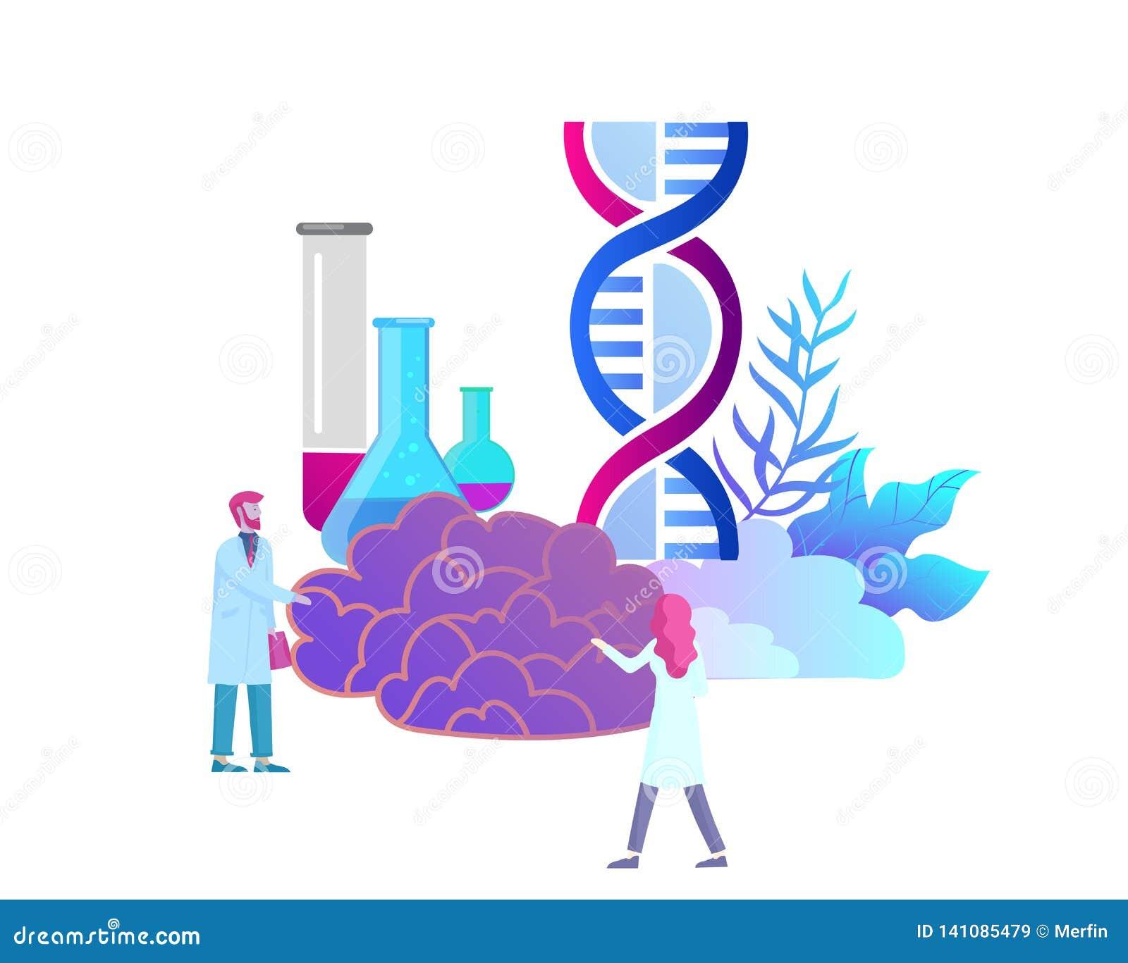 Neurologigenetikbegrepp Plan medicinskt lag för stilpysslingar doktorer som arbetar och att konstruera DNA:t som forskar
