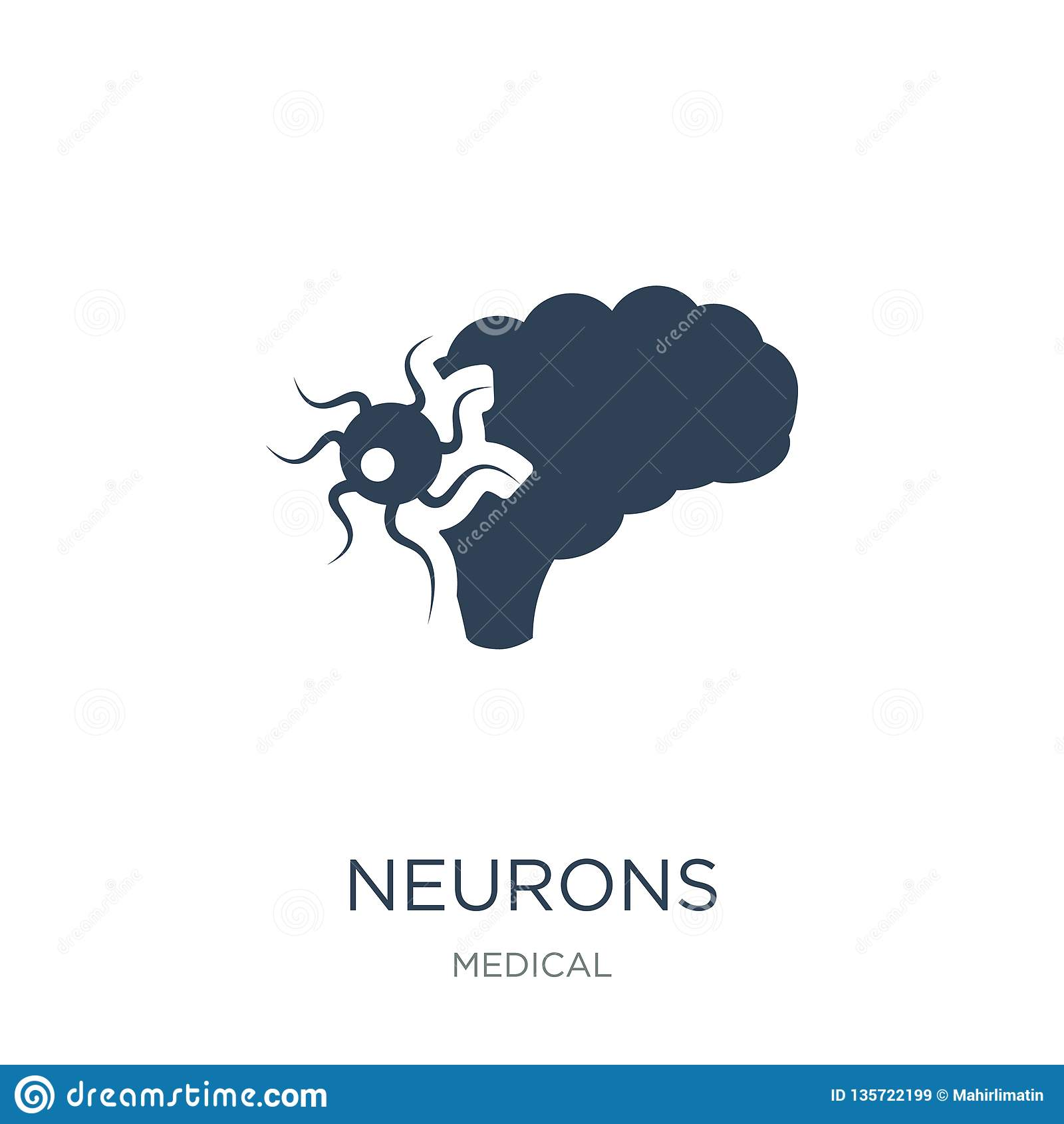 Neuron ikona w modnym projekta stylu neuron ikona odizolowywająca na białym tle neuron wektorowej ikony prosty i nowożytny płaski