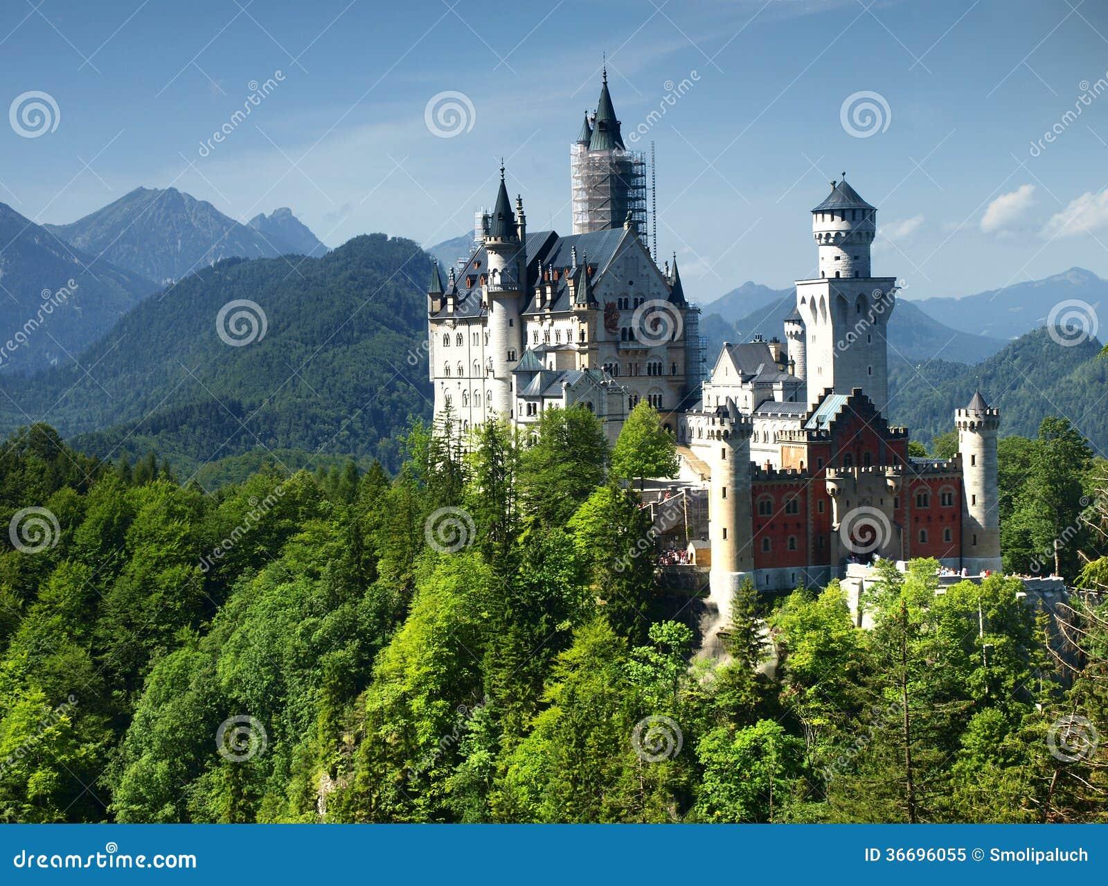 neuschwanstein castle in bavarian alps germany royalty