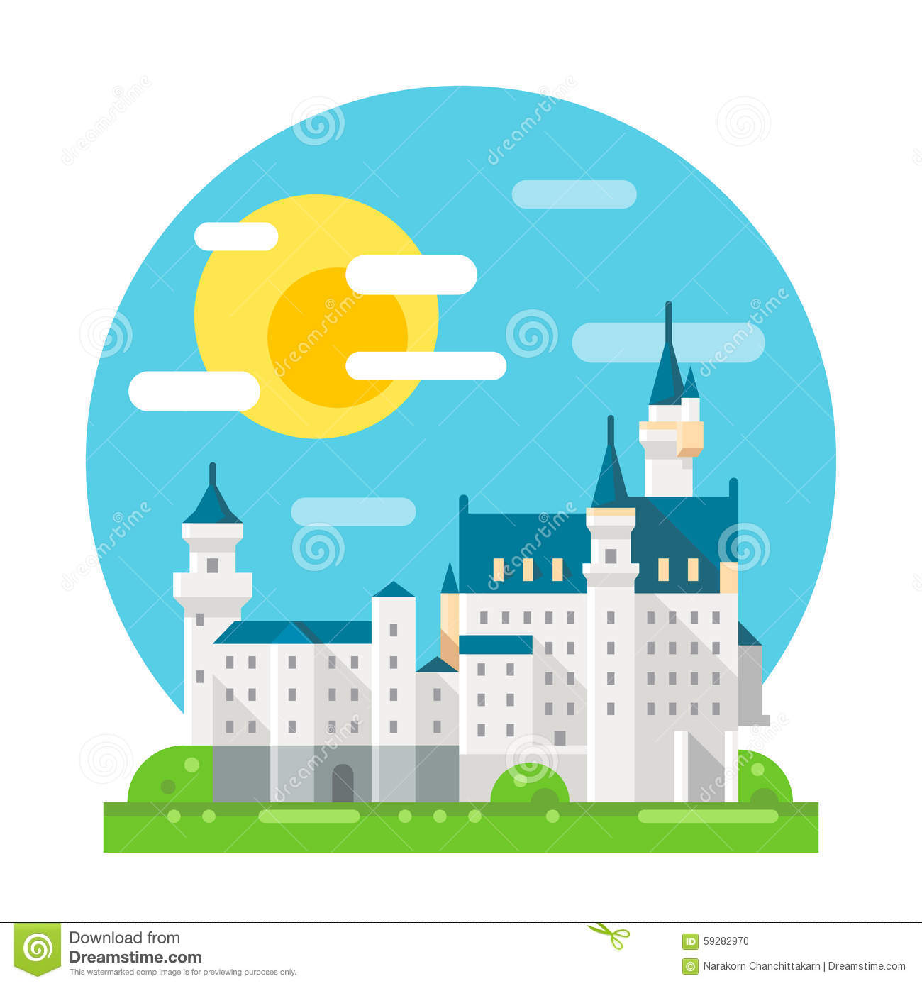 Neuschwanstein castle flat design landmark stock vector Design a castle online