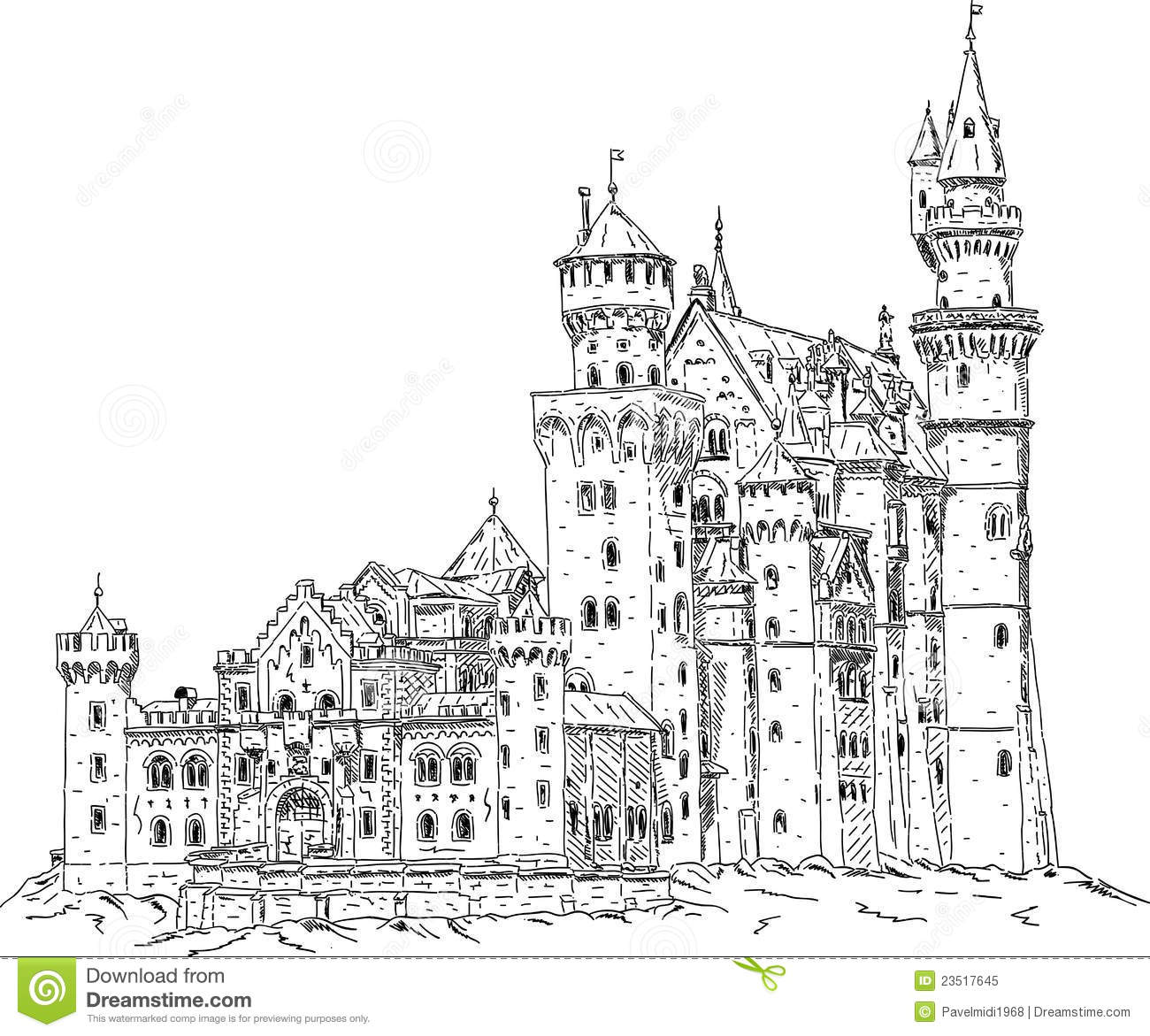 Neuschwanstein Castle In Germany Stock Vector