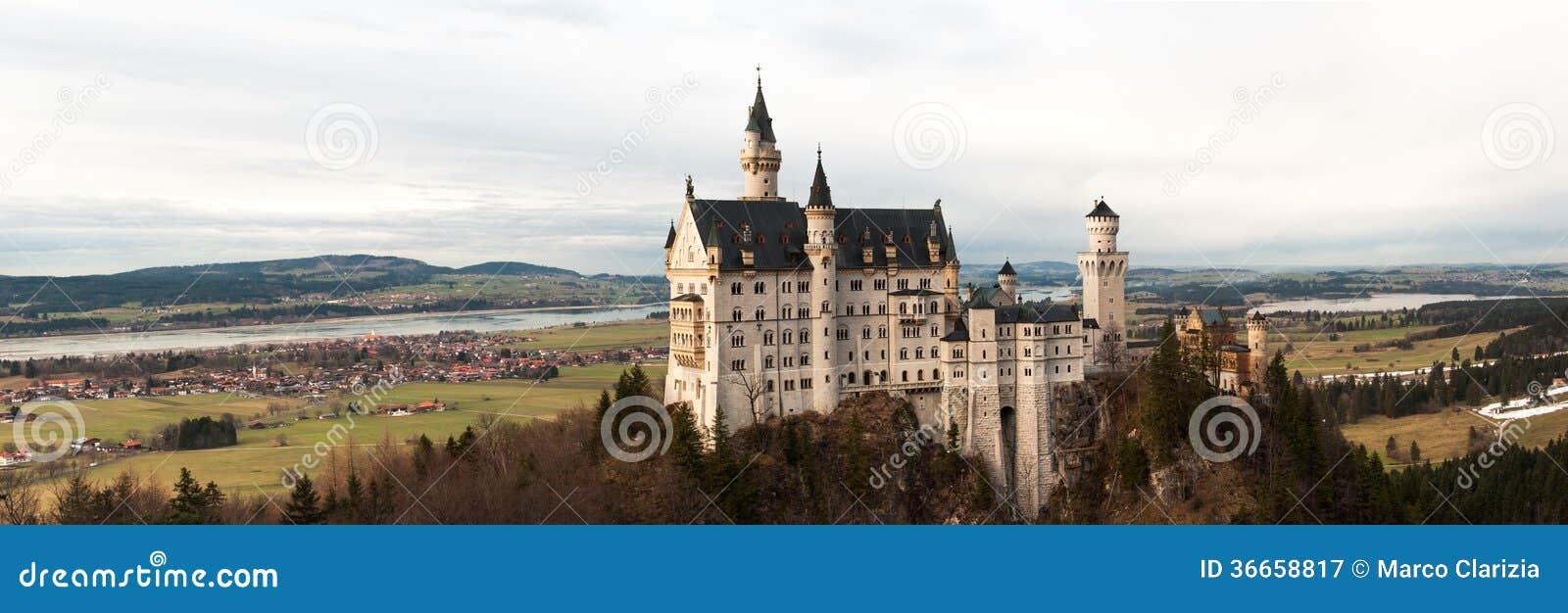 Neuschwanstein Castle Panoramic Stock Image Image Of