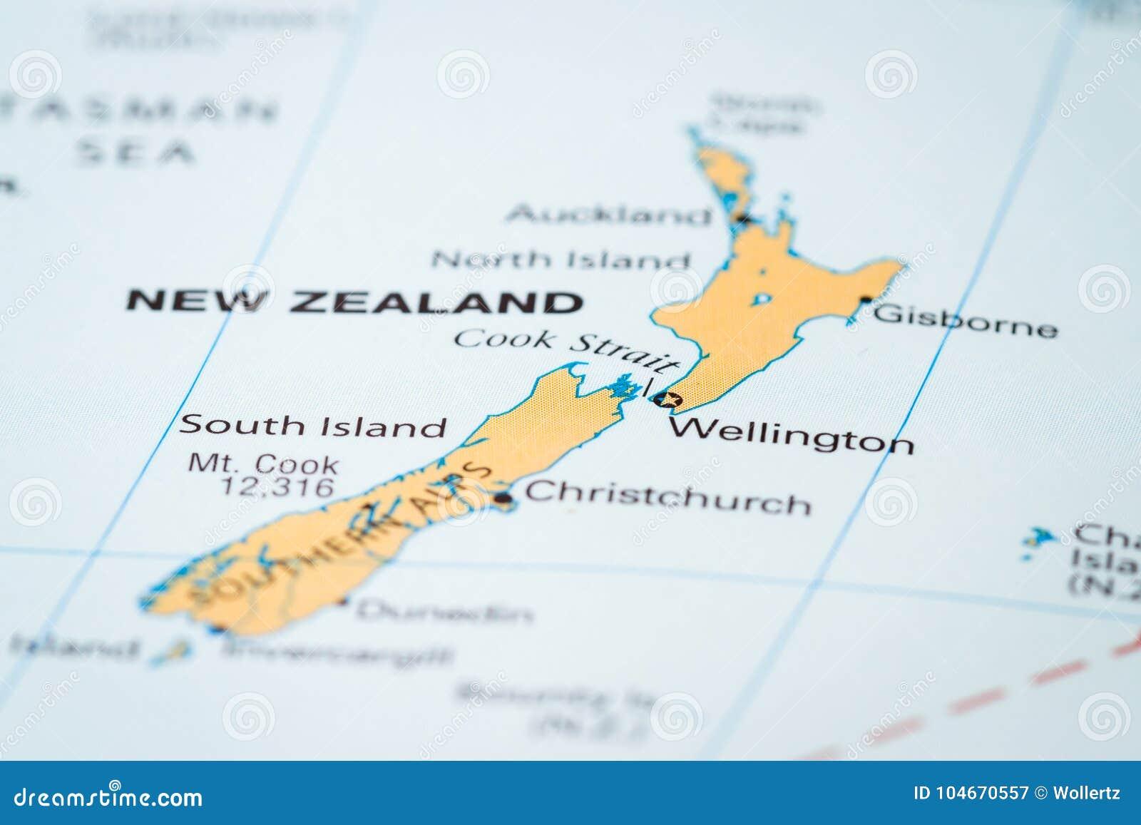 Neuseeland Auf Einer Karte Stockbild Bild Von Karte 104670557