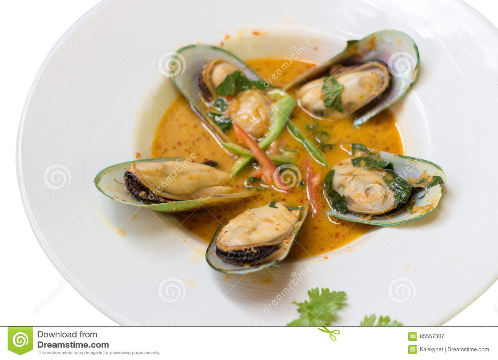 Neuseeland-Miesmuschel gedämpft mit Curry-Kokosmilch