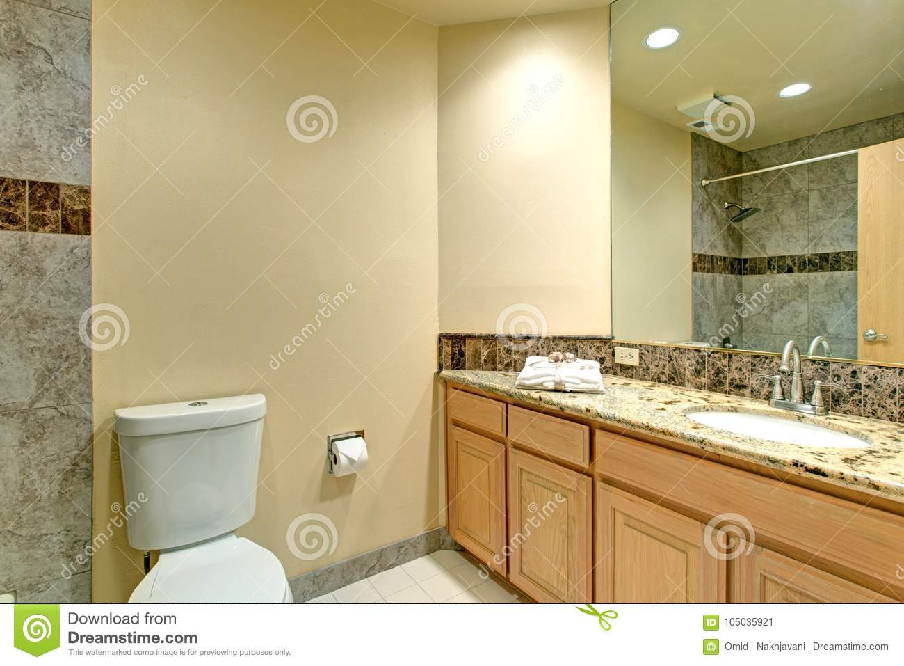 Neutral Bathroom Design With Green Marble Tile Stock Image - Image ...